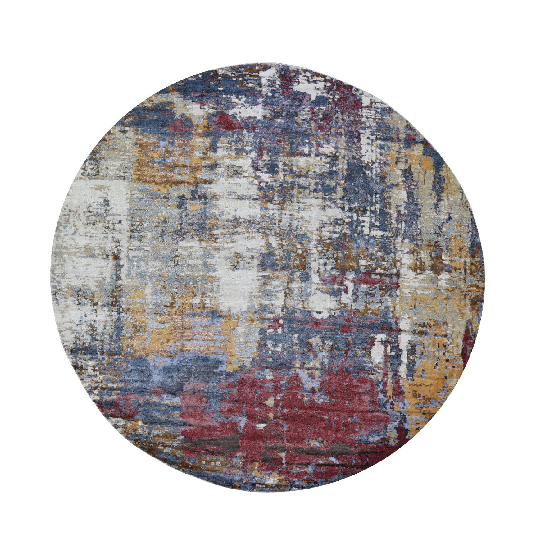 10'x10' Round Rust Abstract Design Wool and Silk Hand Woven Oriental Rug
