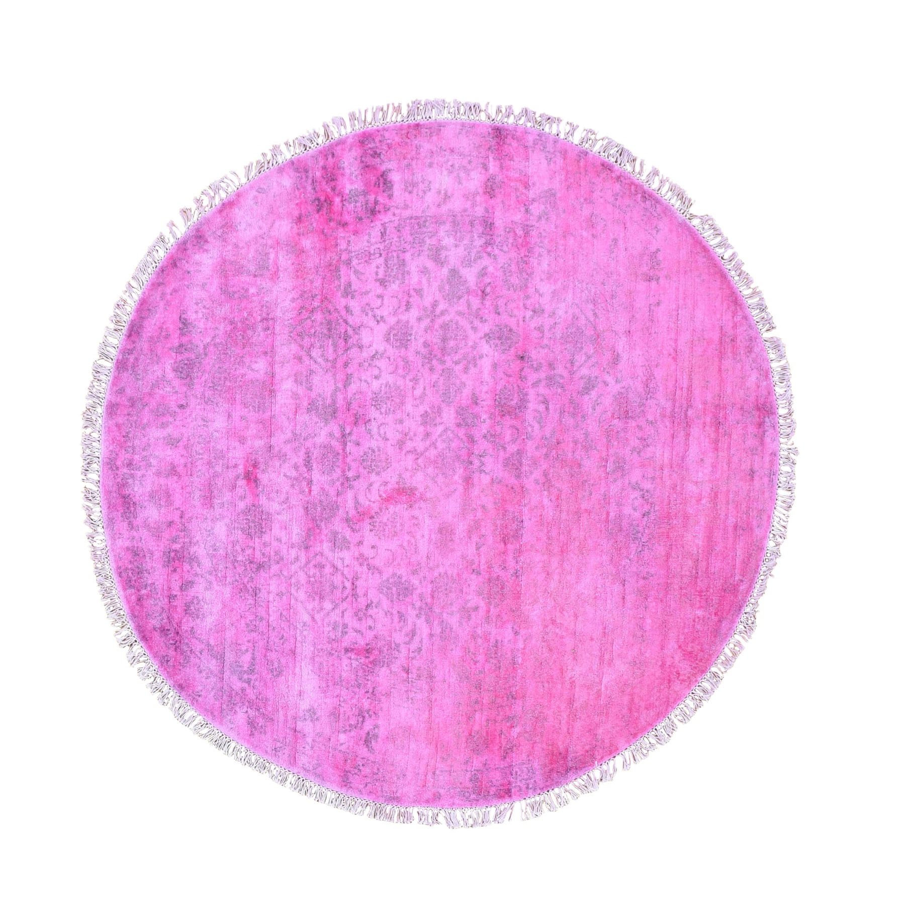 5'x5' Pink Round Overdyed Silk Mahi Design Hand Woven Oriental Rug