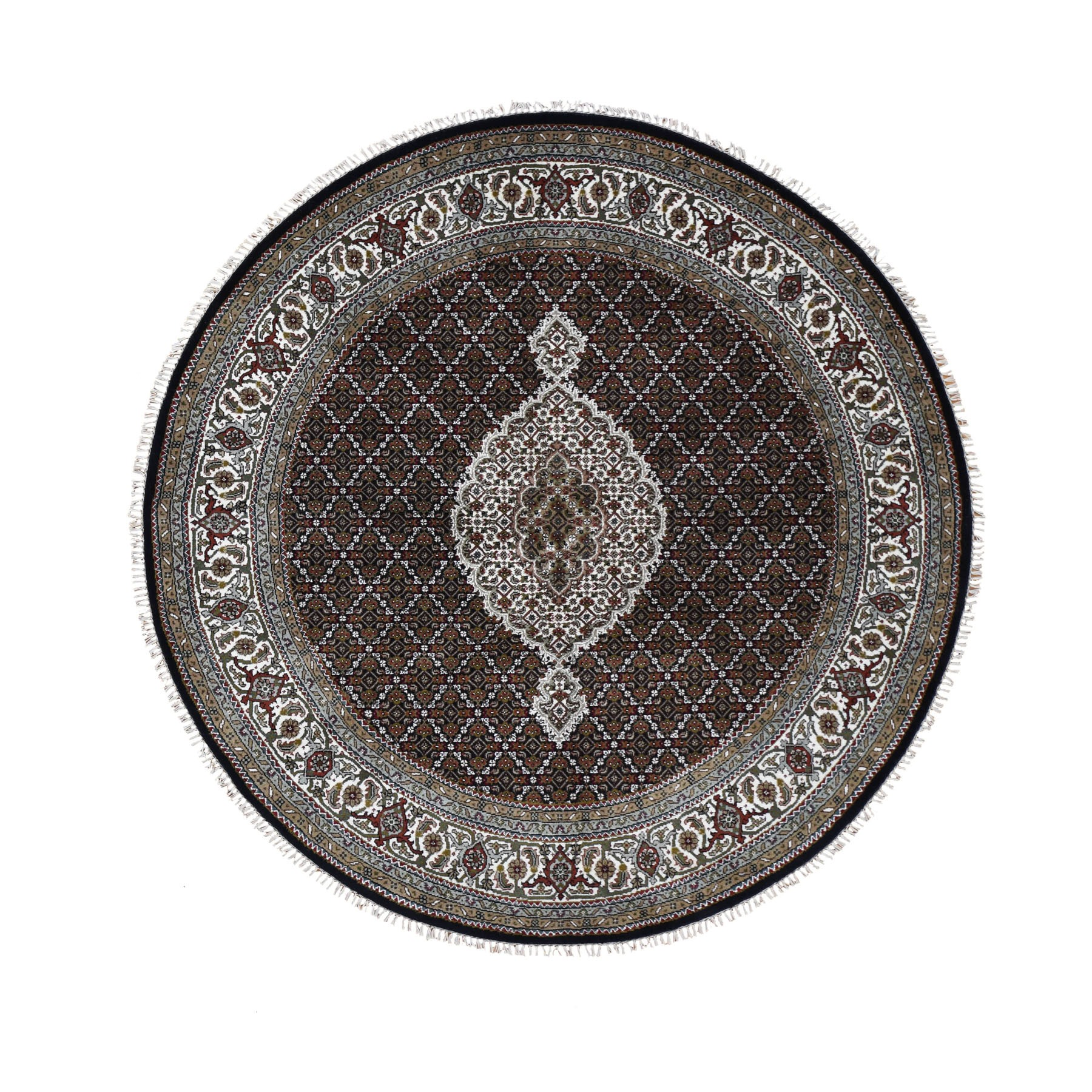 "6'7""x6'7"" Round Black Tabriz Mahi Wool and Silk Hand Woven Oriental Rug"