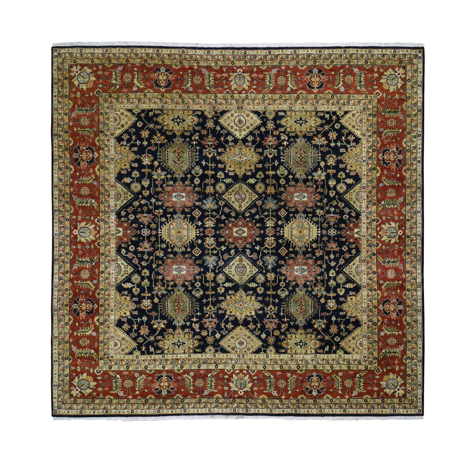 "11'9""x11'9"" Square Pure Wool Black Karajeh Hand Woven Oriental Rug"