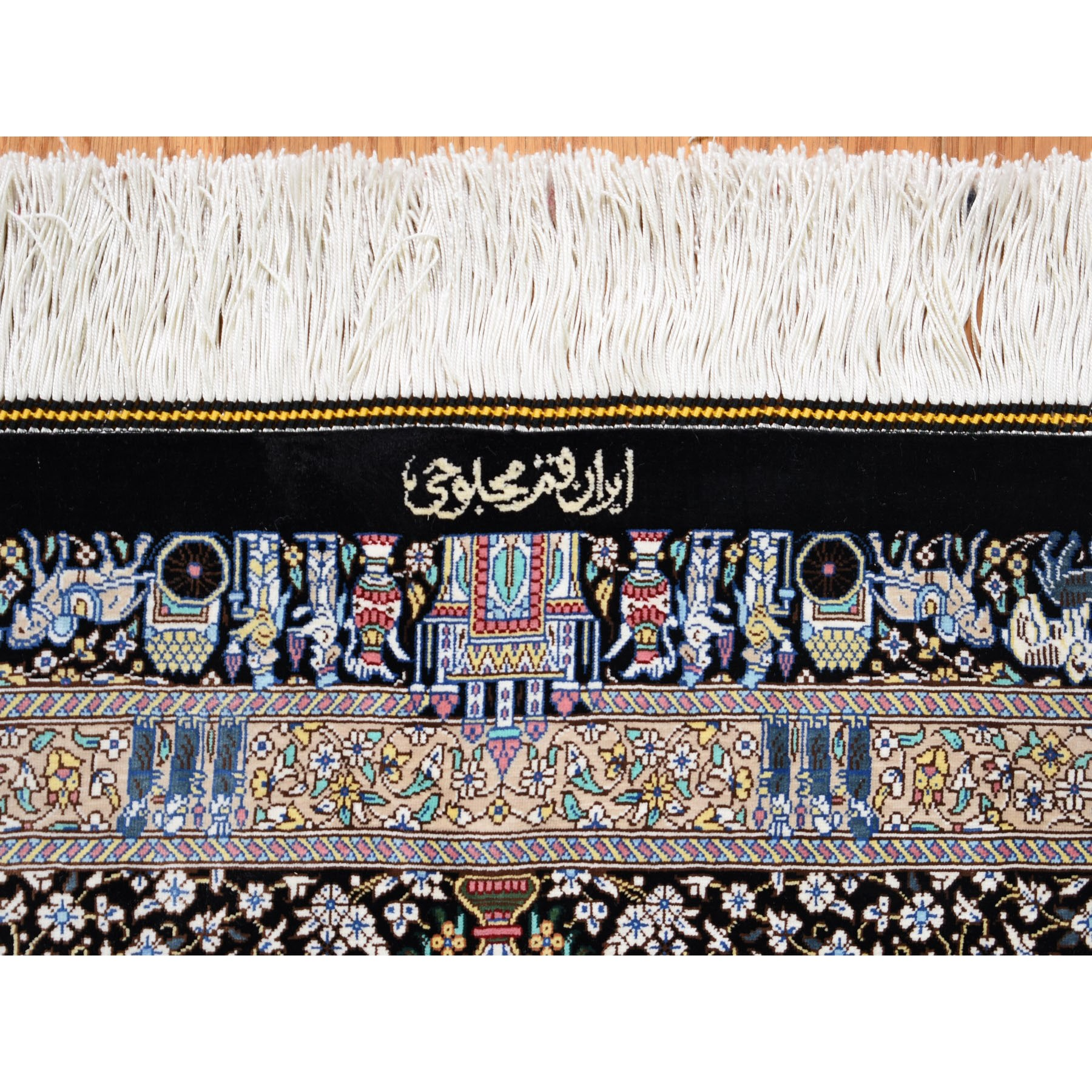 "6'6""x10'2"" Persian Silk Qum, Signed ,600 KPSI, Horse Carriages ,Kings, Hand Woven Oriental Rug"