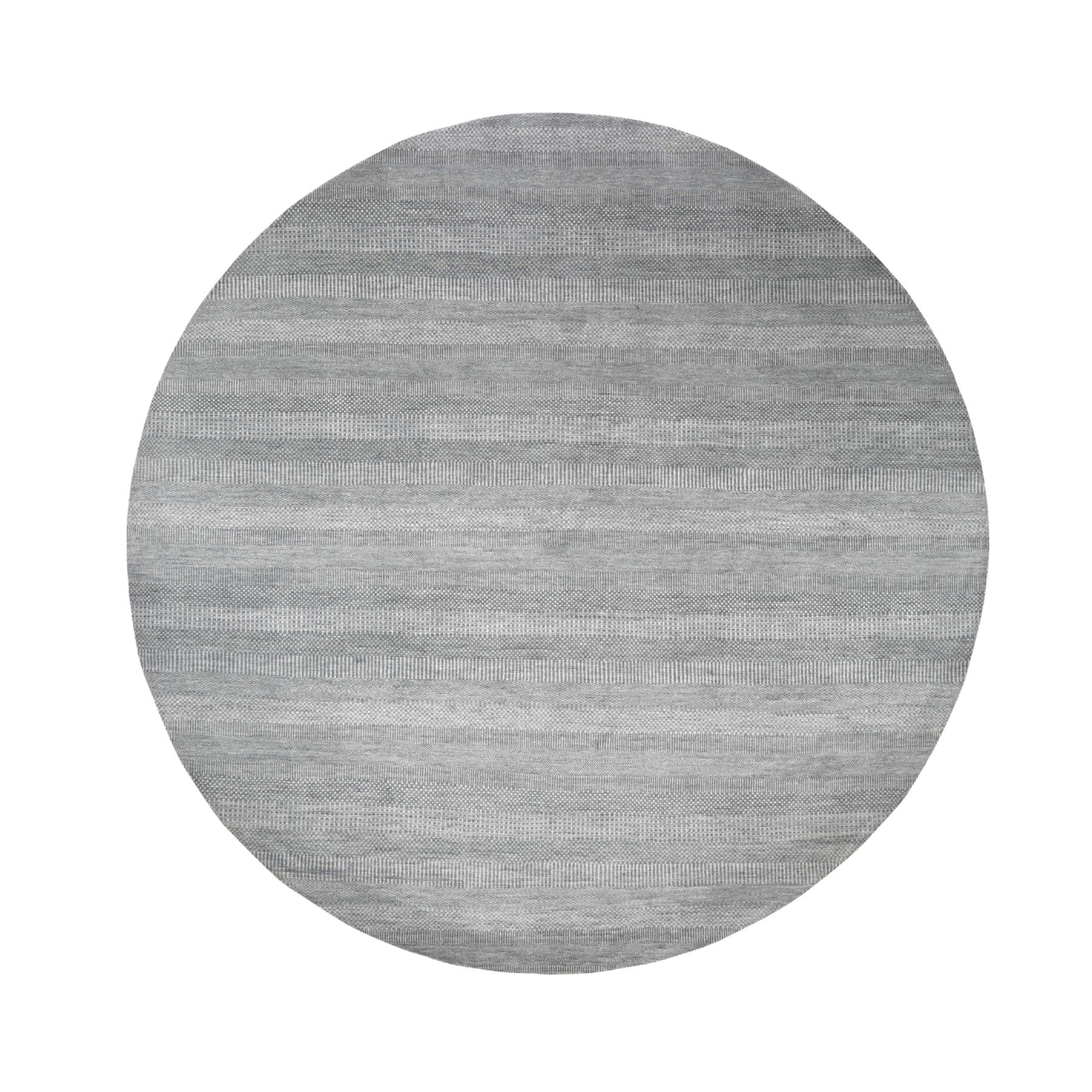 10'x10' Gray Round Wool and Silk Grass Design Hand Woven Oriental Rug