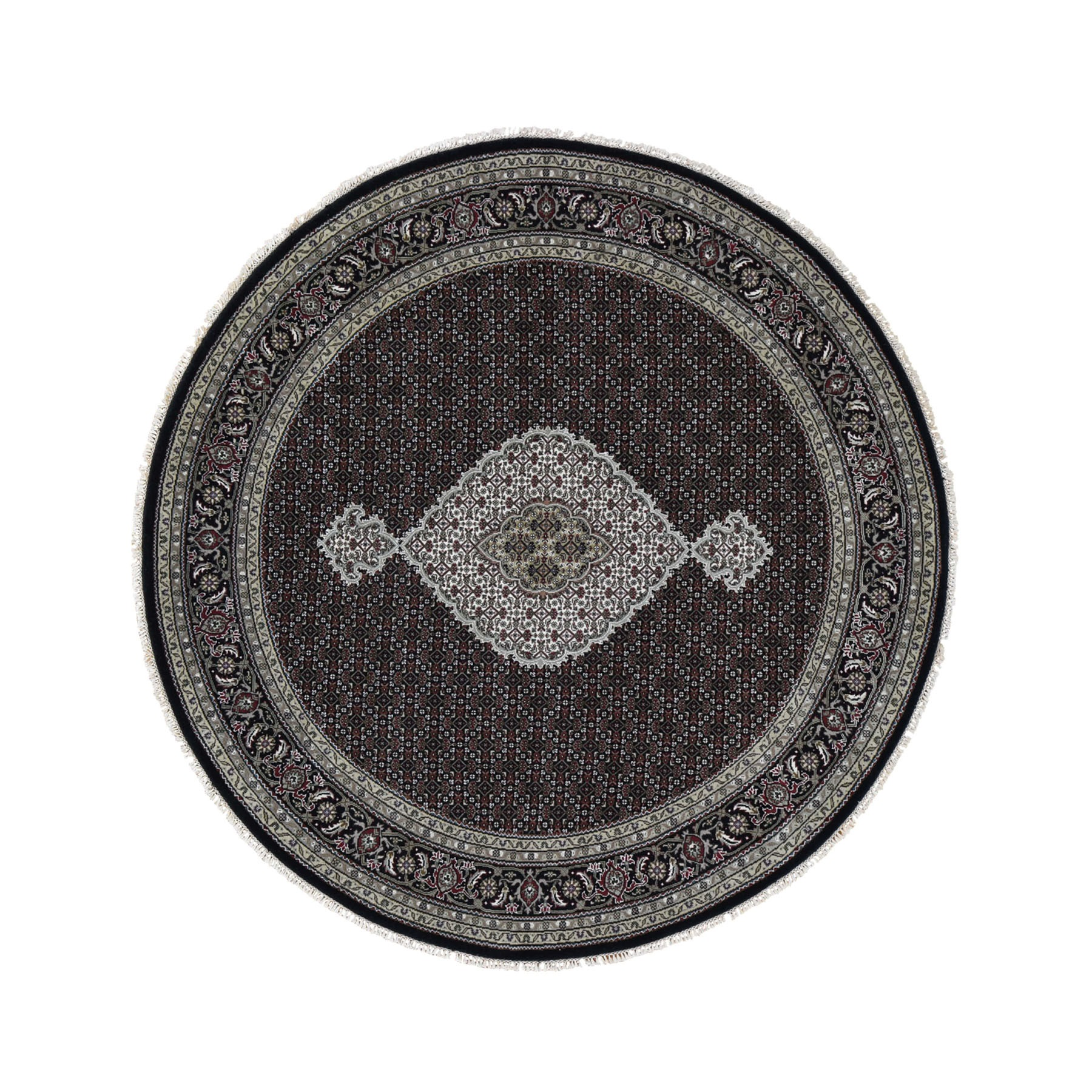 "7'9""x7'9"" Black Wool And Silk Tabriz Mahi Design Round Hand Woven Oriental Rug"