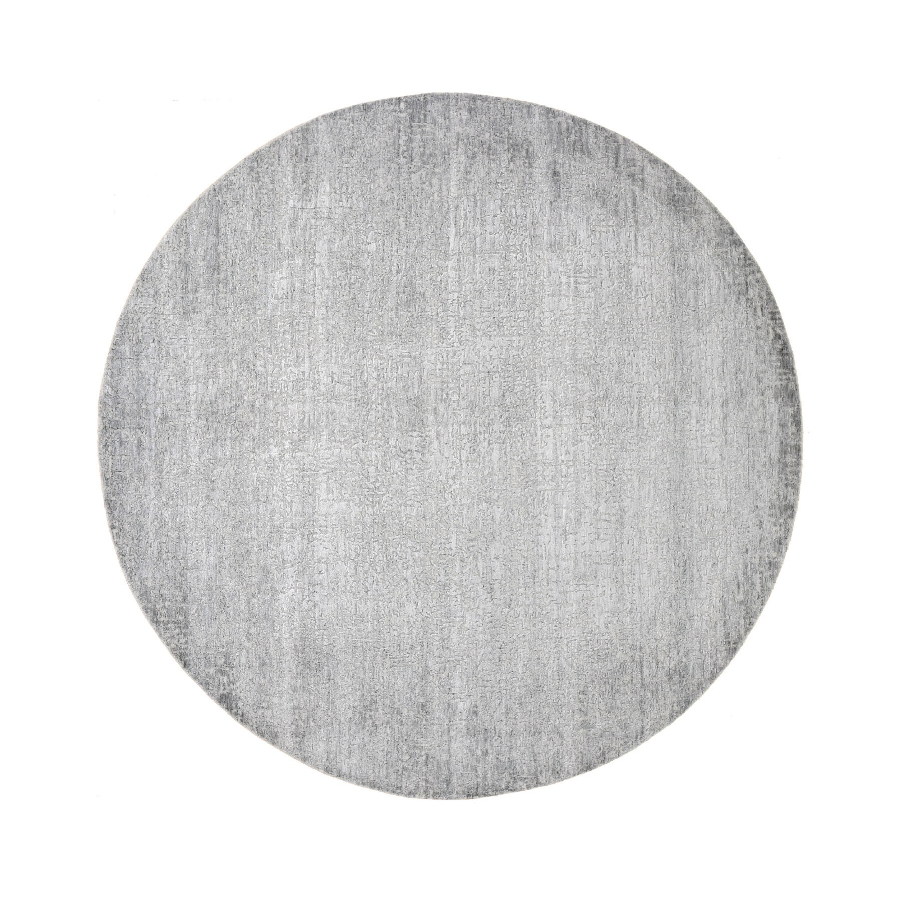 8'x8' Gray Round Tone On Tone Wool And Silk Hand Woven Oriental Rug
