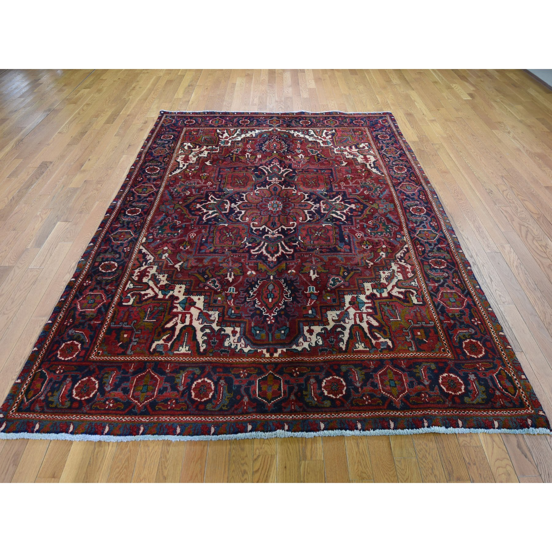 "6'10""x9'3"" Red Semi Antique Persian Heriz Geometric Design Thick and Plush Hand Woven Oriental Rug"
