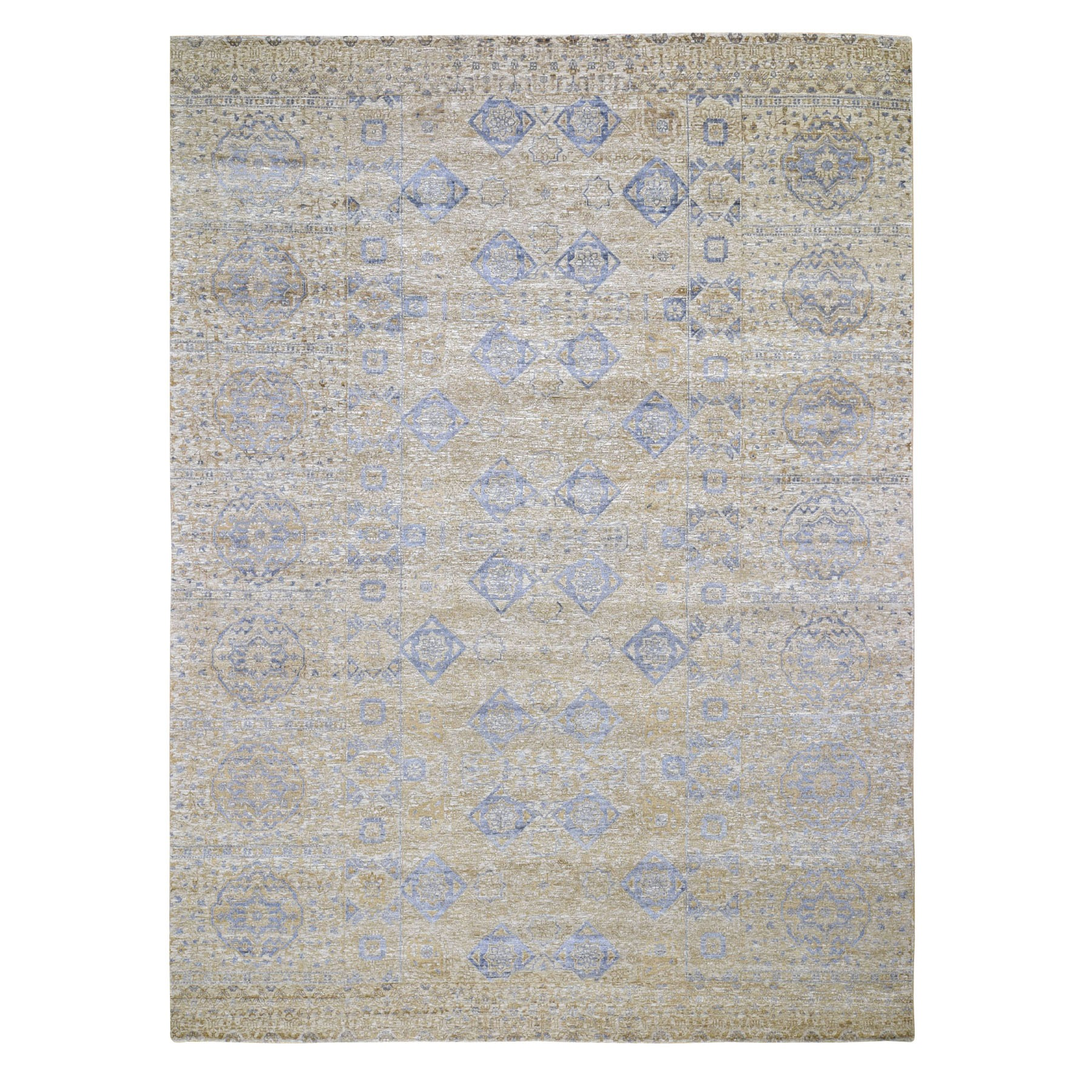 "9'x12'2"" Silk With Textured wool Mamluk Design Hand knotted Oriental Rug"