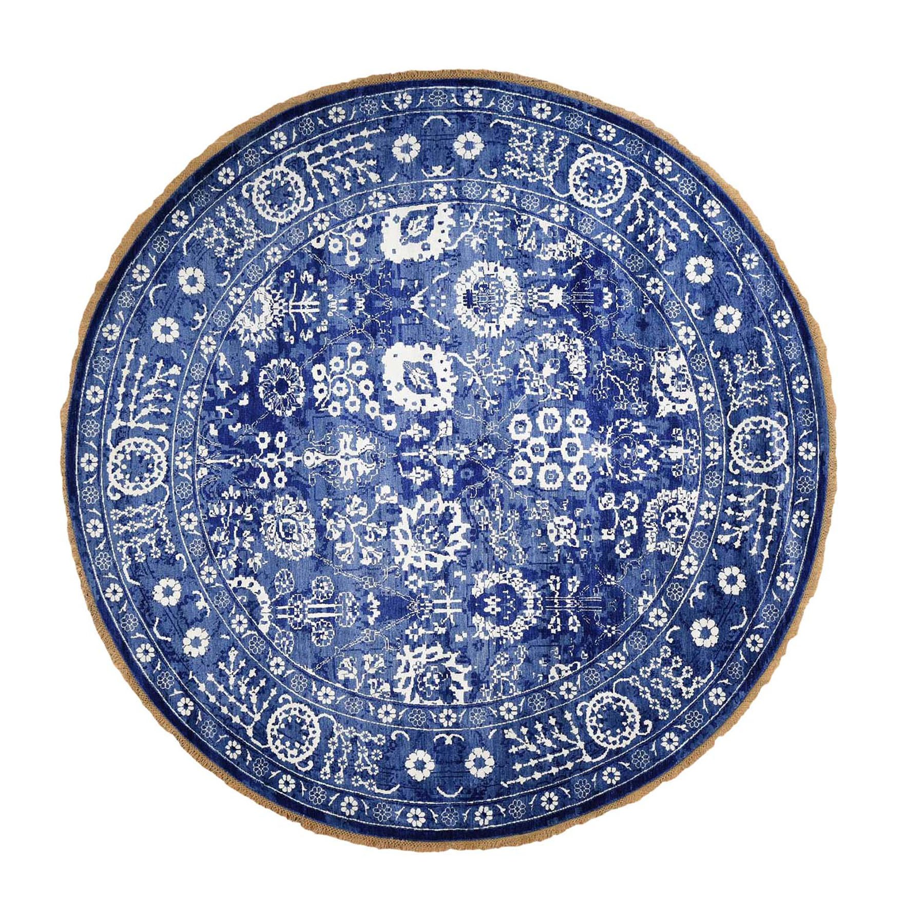 10'x10' Round Blue Wool and Silk Tone On Tone Fine Oriental Hand Woven Oriental Rug