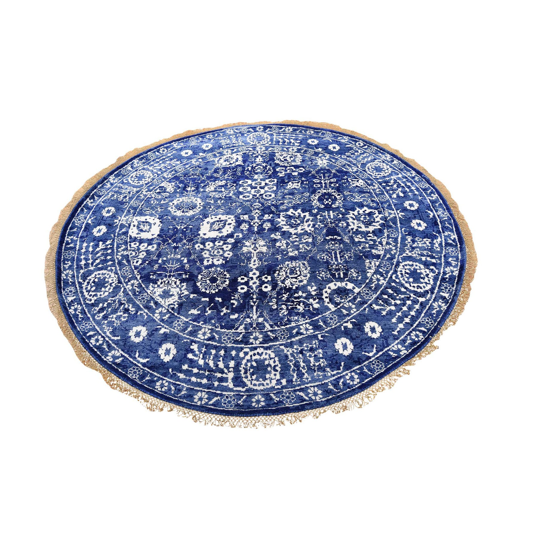 6'x6' Round Blue Wool and Silk Tone On Tone Tabriz Hand Woven Oriental Rug