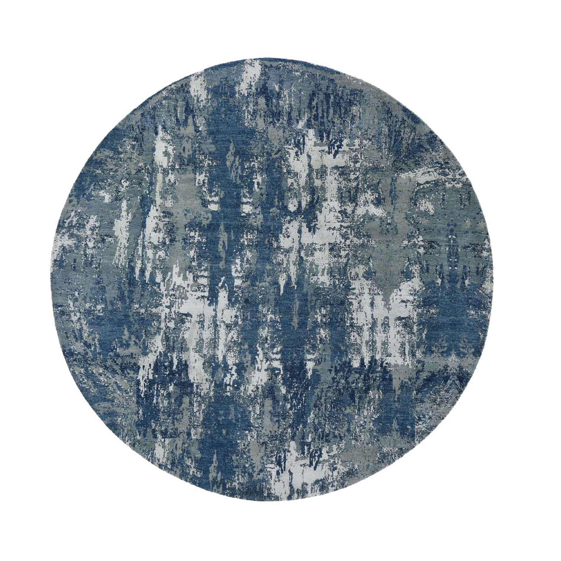 10'x10' Blue Abstract Design Wool and Pure Silk Hand Woven Round Oriental Rug