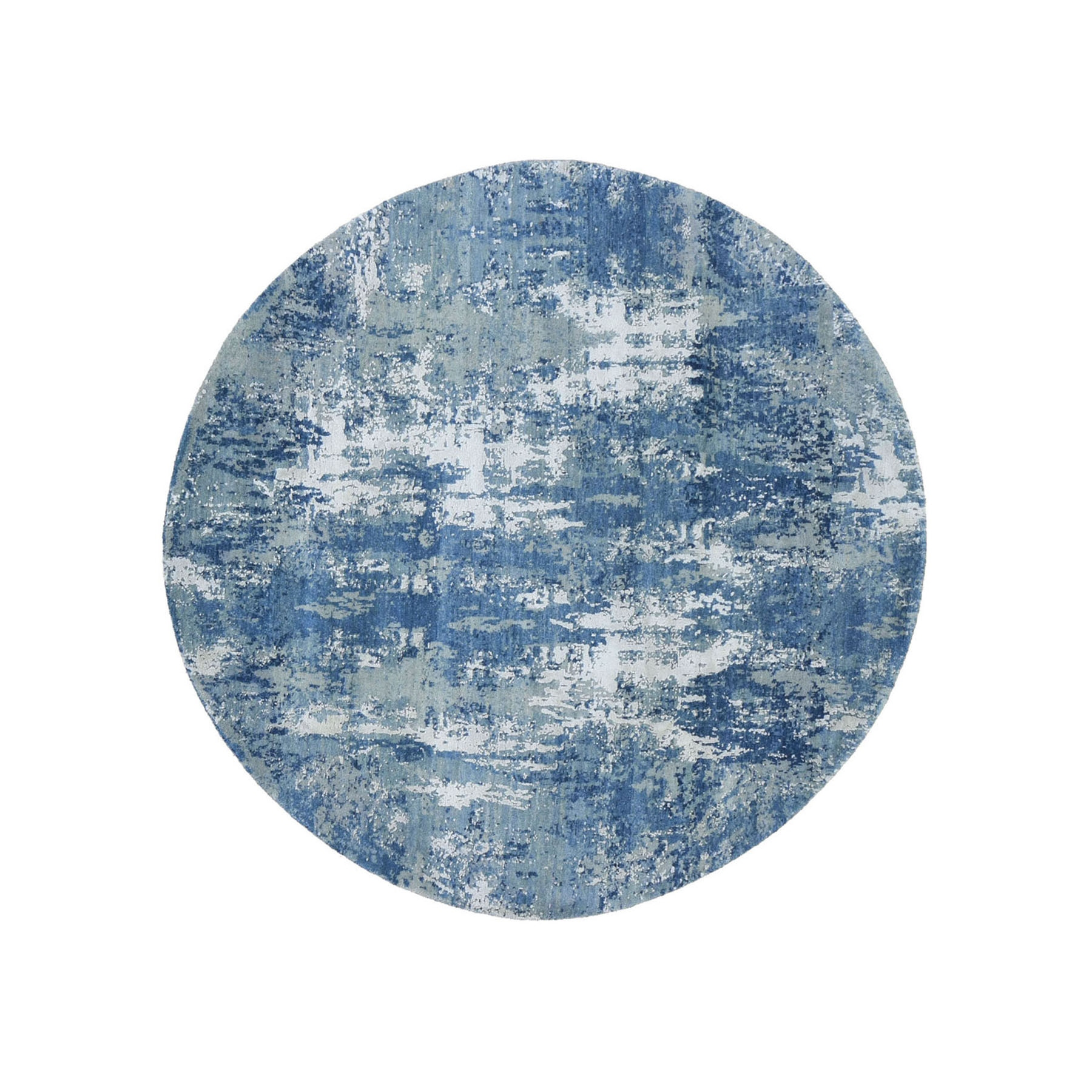 "6'1""x6'1"" Blue Abstract Design Wool and Pure Silk Hand Woven Round Oriental Rug"