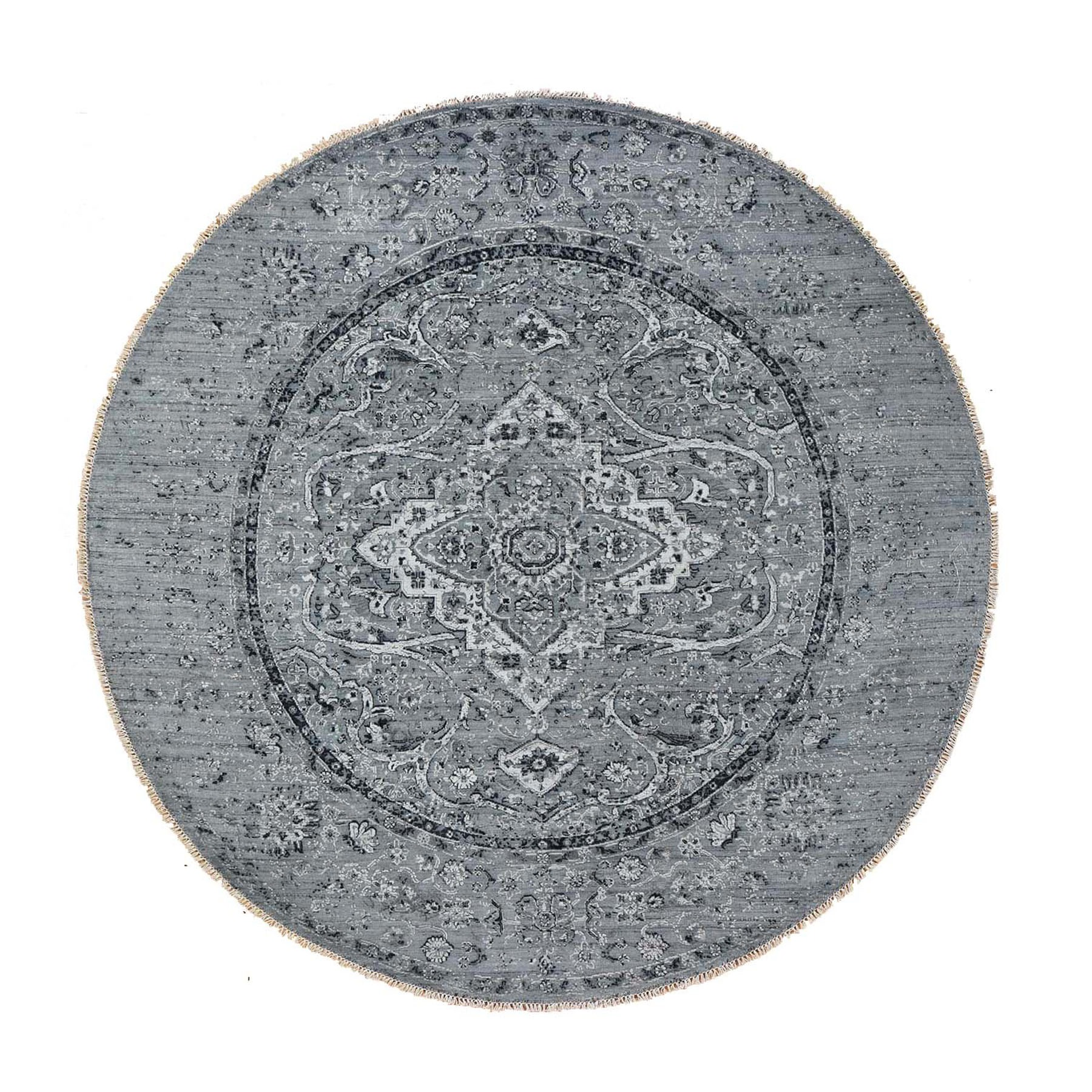 "9'10""x9'10"" Round Gray Broken Persian Erased Design Pure Silk With Textured Wool Hand Woven Oriental Rug"