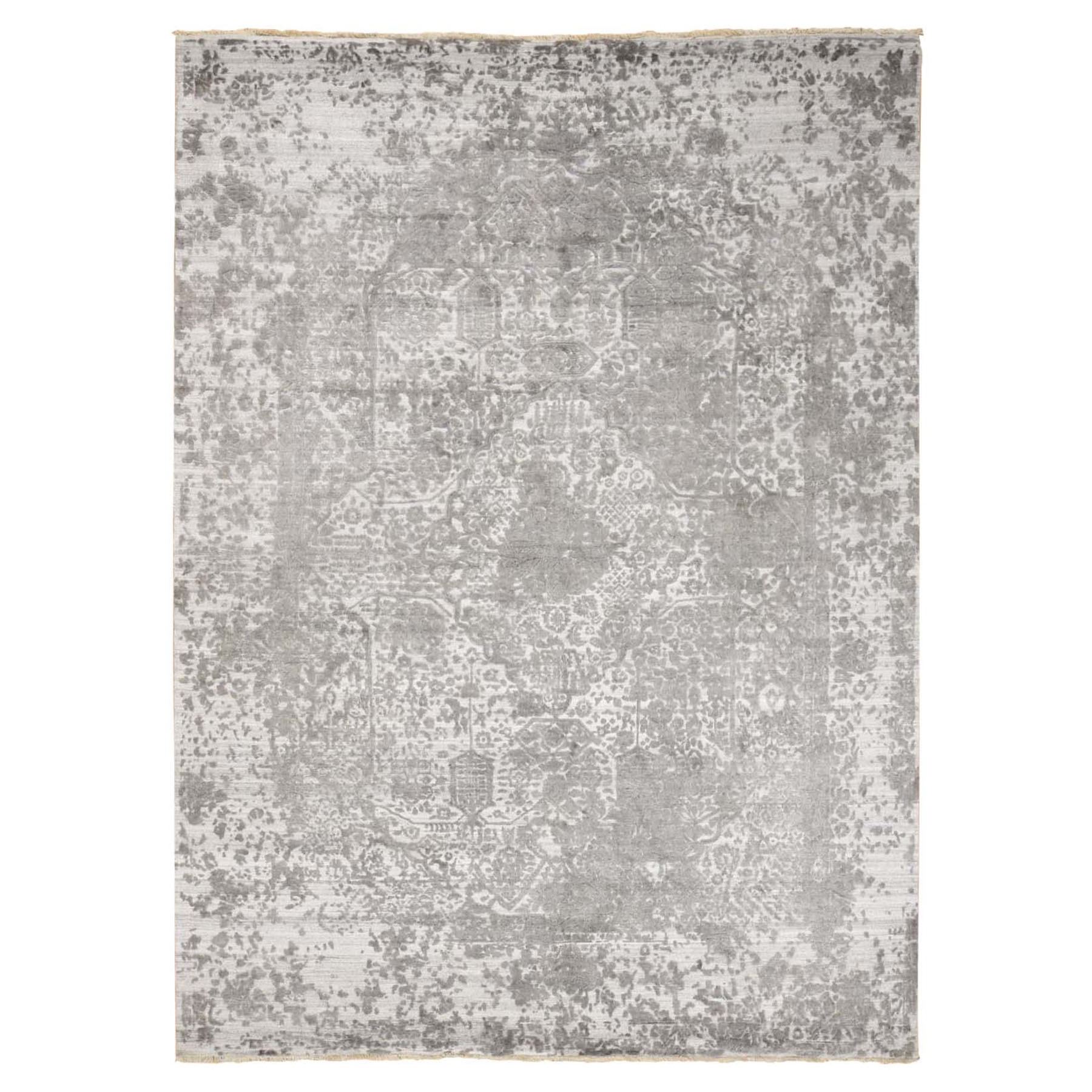 10'x14' Hand Woven Wool and Pure Silk Broken Persian Design Oriental Rug