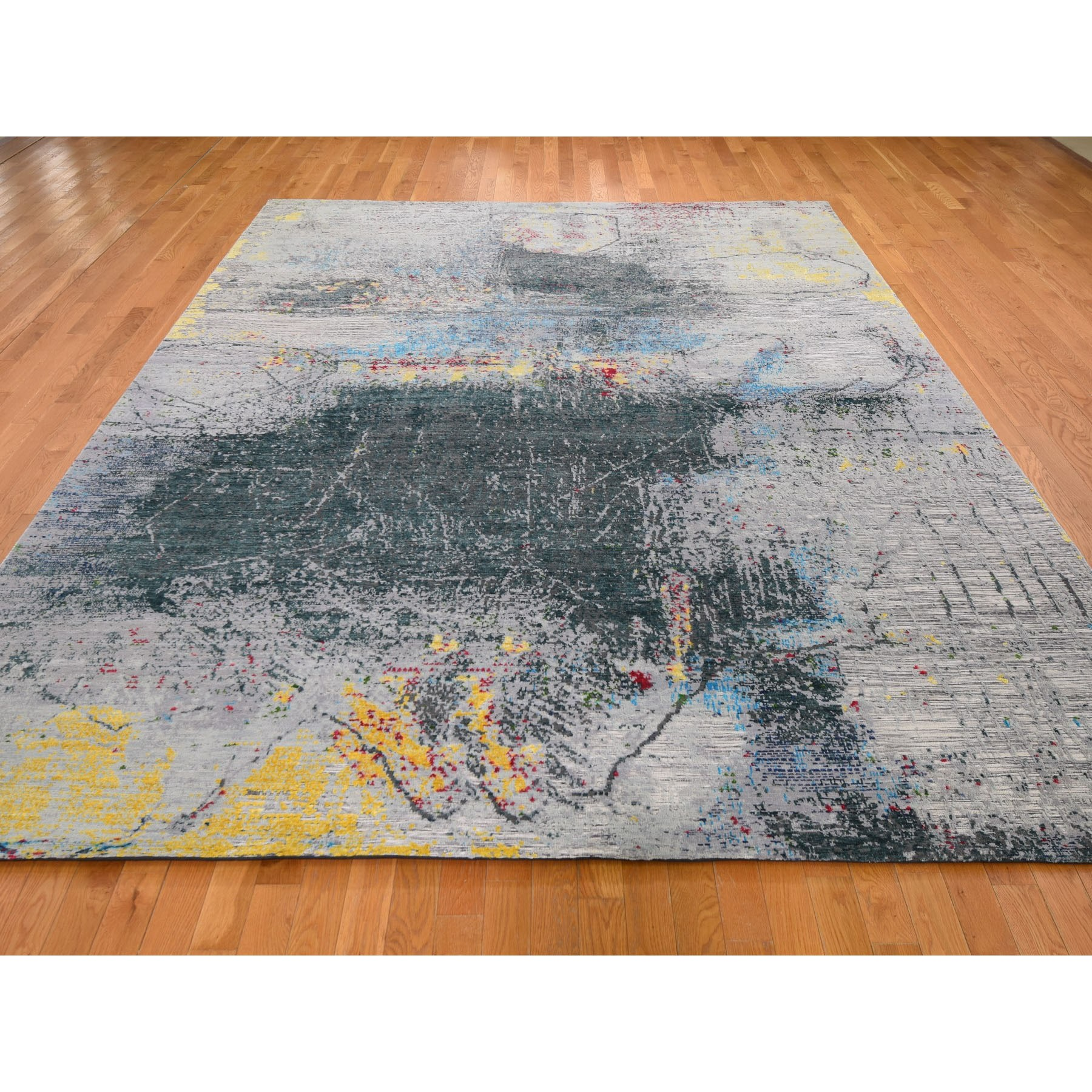 "9'2""x11'8"" Sari Silk With Textured Wool Abstract Design Hand Woven Oriental Rug"