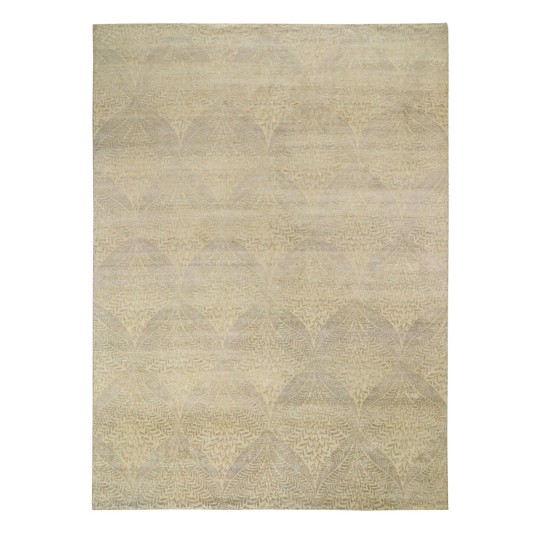 "8'10""x12'21"" Gold Leaf Design Tone On Tone Pure Silk Hand Woven Oriental Rug"
