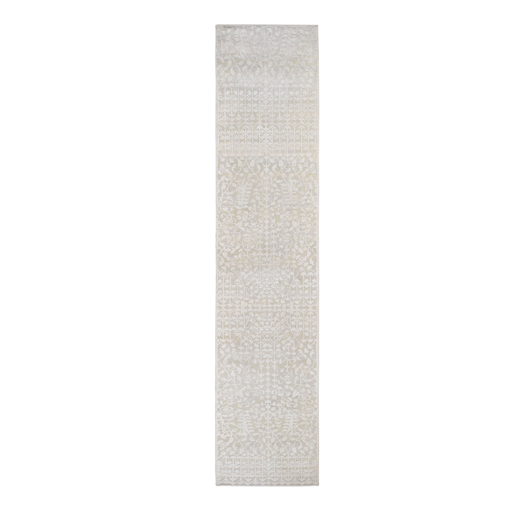 "2'6""x11'8"" Hand knotted Tone on Tone Pure Silk with Textured Wool Runner Oriental Rug"