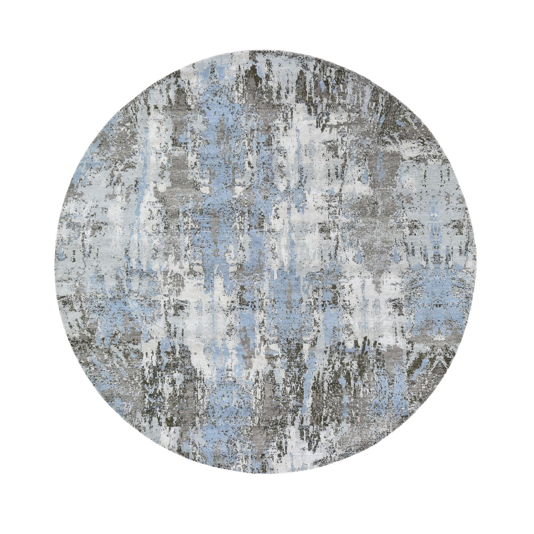 8'x8' Blue Abstract Design Wool and Pure Silk Hand Woven Round Oriental Rug