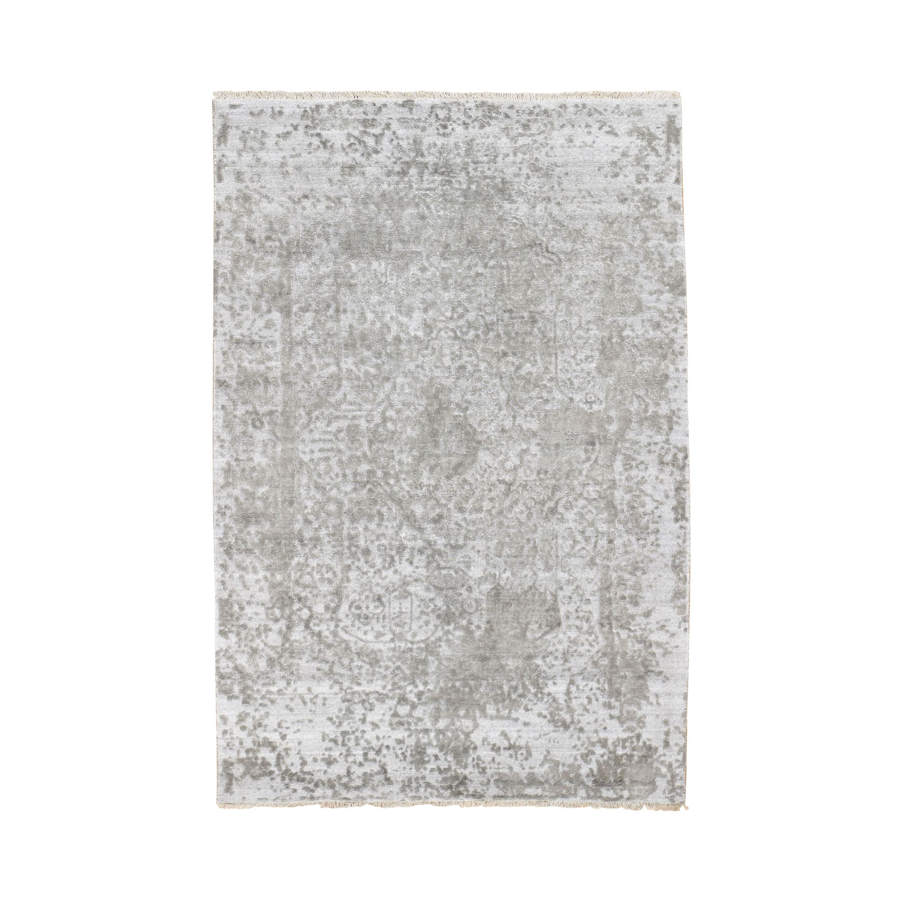 4'x6' Silver-Dark Gray Erased Persian Design Wool and Pure Silk Hand Woven Oriental Rug
