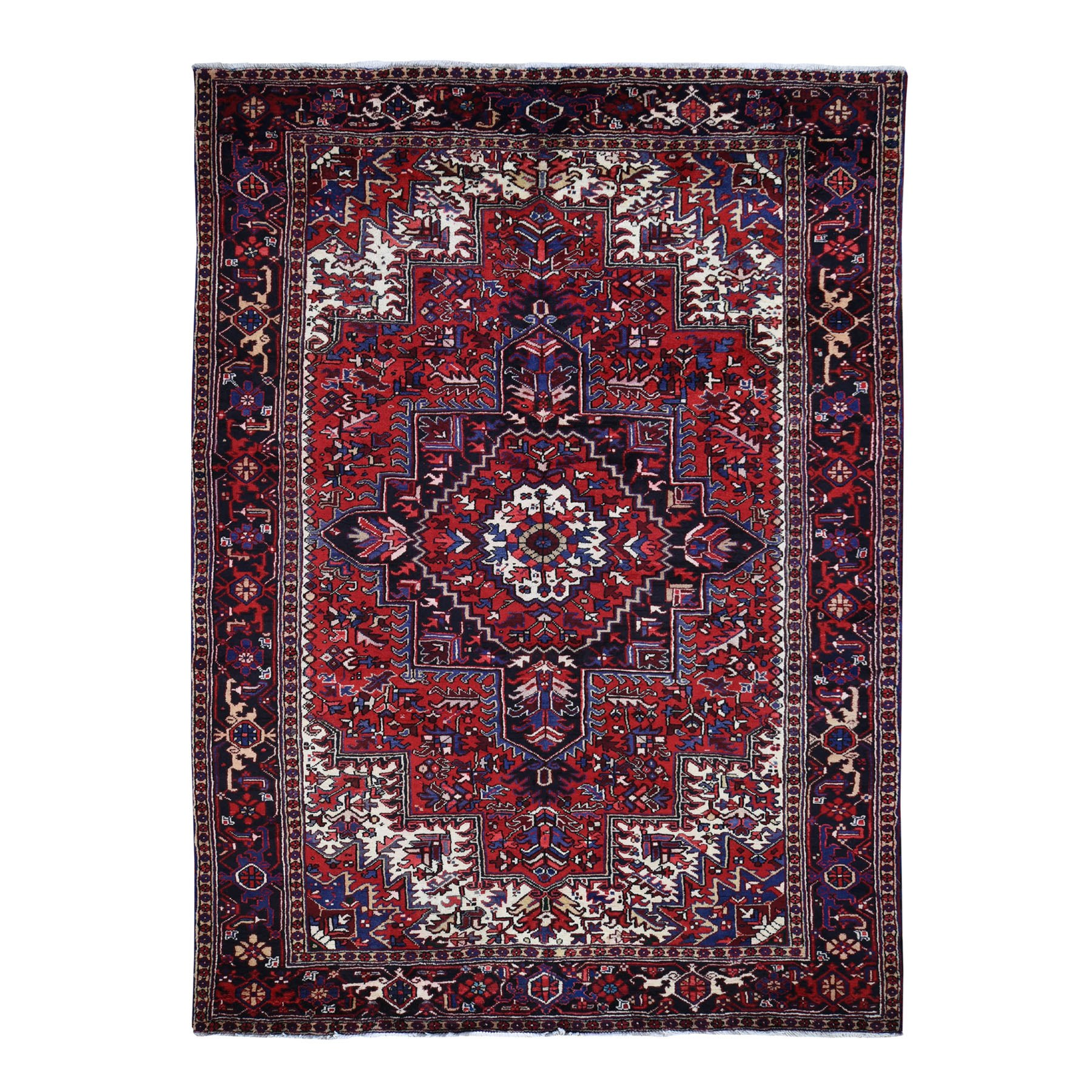 "7'9""x11' Red Semi Antique Heriz Good Condition Hand Woven Oriental Rug"