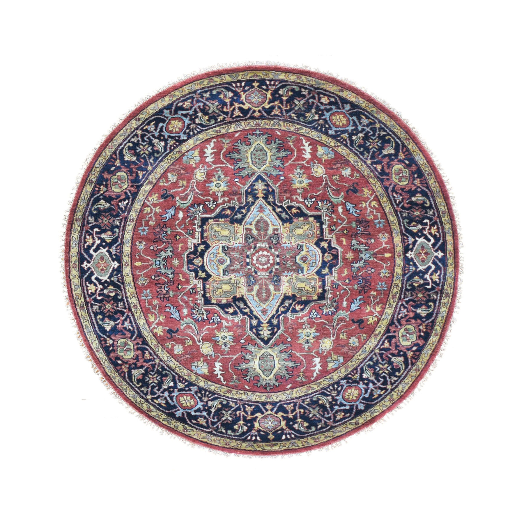 6'x6' Round Red Heriz Revival Pure Wool Hand Woven Oriental Rug