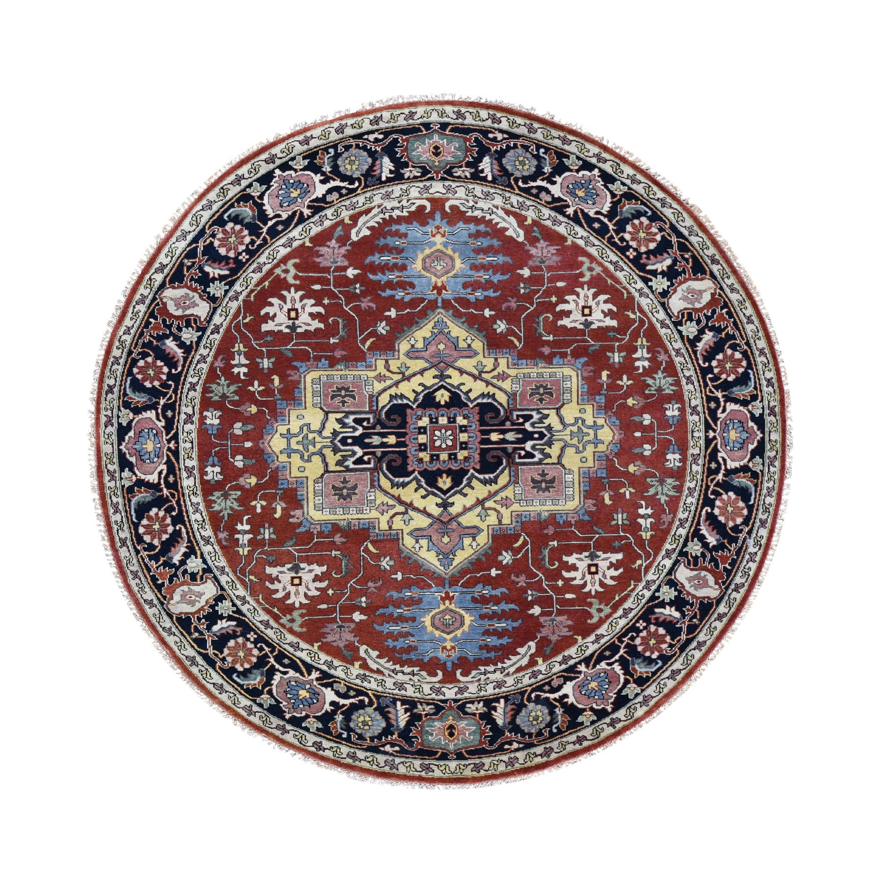 8'x8' Round Red Heriz Revival Pure Wool Hand Woven Oriental Rug