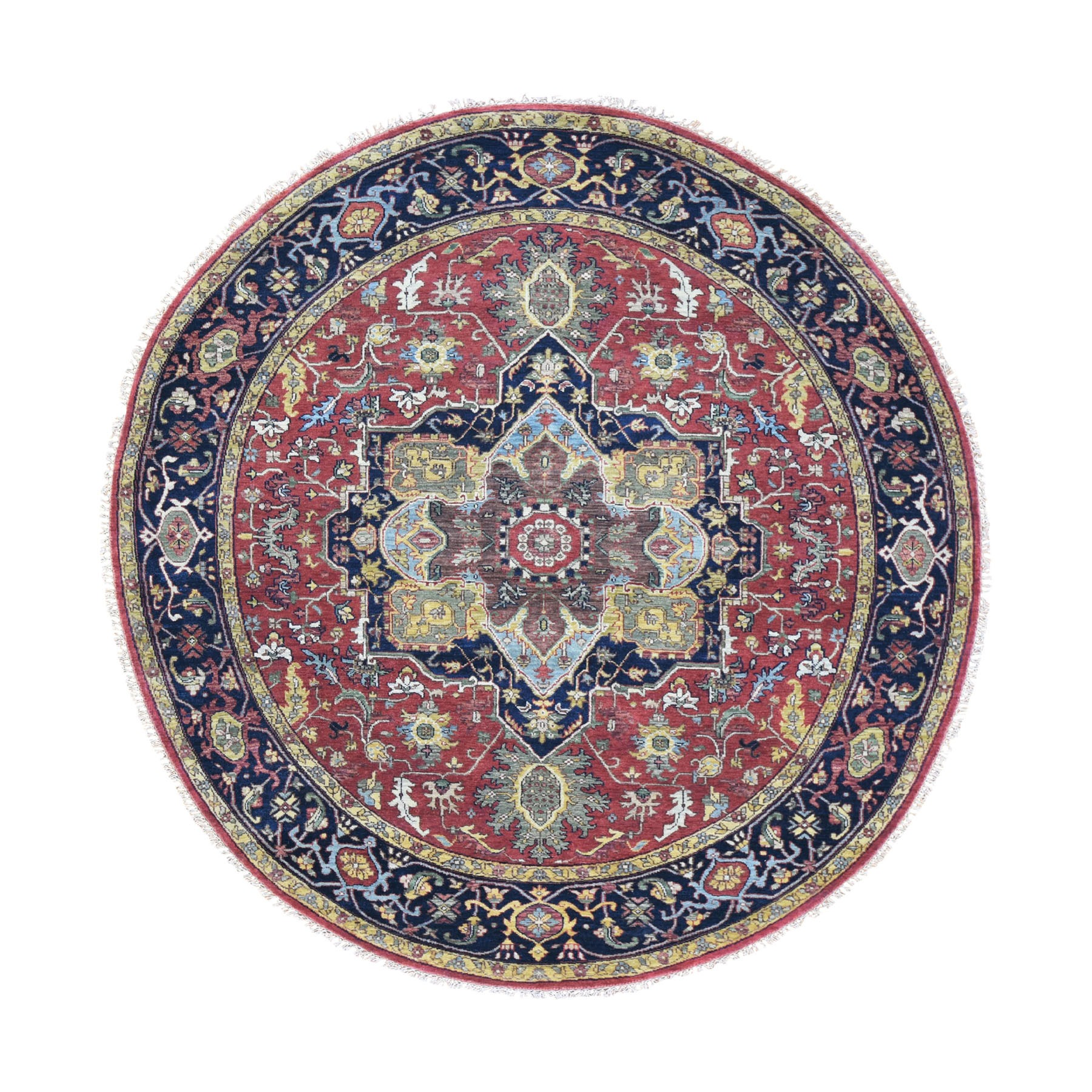 "7'9""x7'9"" Round Red Heriz Revival Pure Wool Hand Woven Oriental Rug"