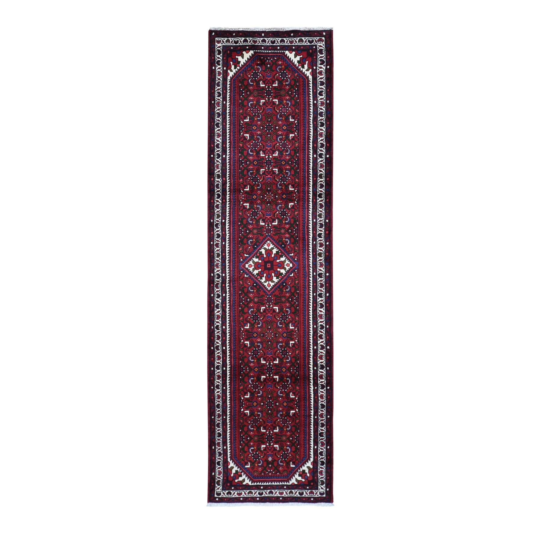 "2'6""x10' Red New Persian Hamadan Pure Wool Runner Hand Woven Oriental Rug"