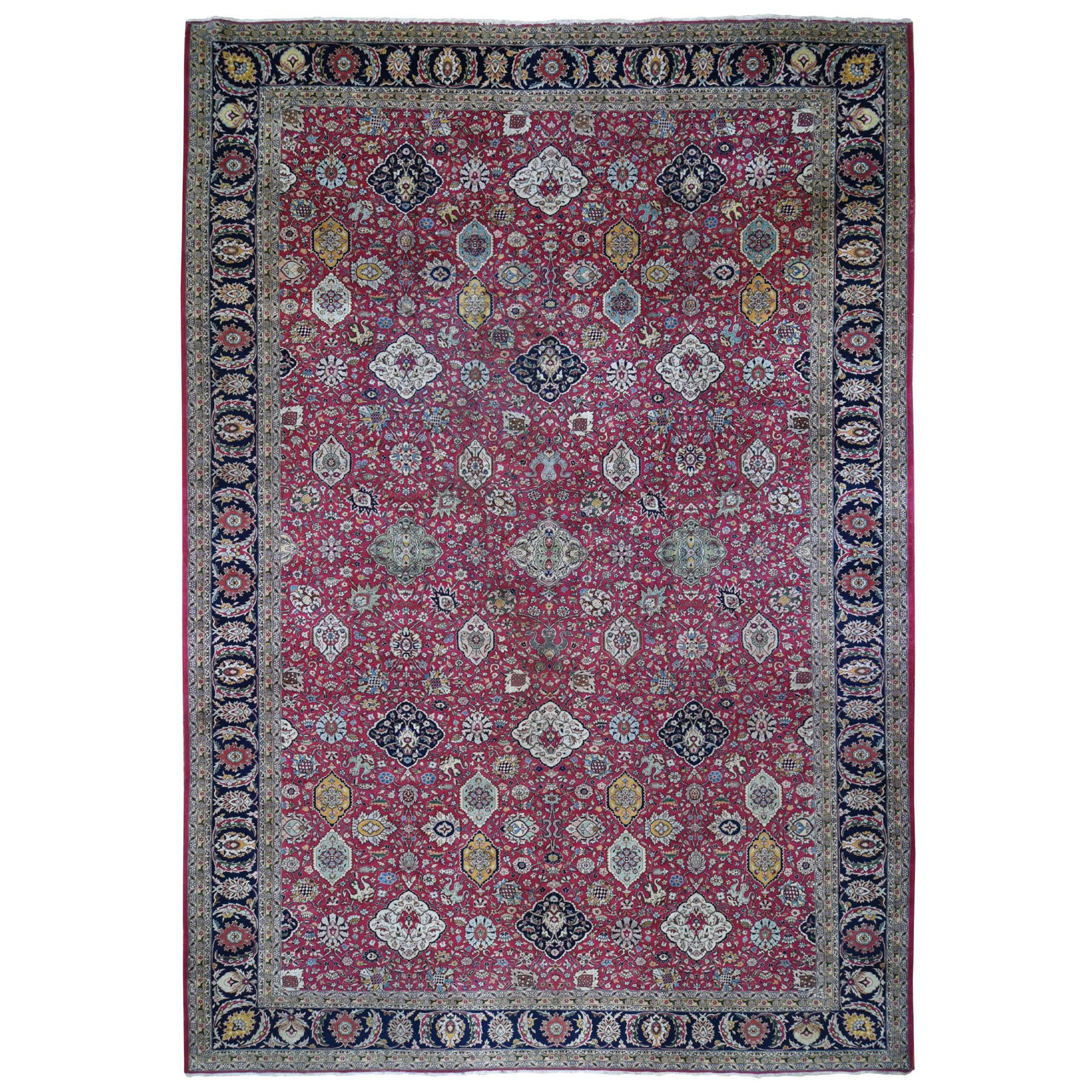 "11'10""x18'6"" Oversized Red Vintage Persian Tabriz All Over Design Some Wear Hand Woven Oriental Rug"