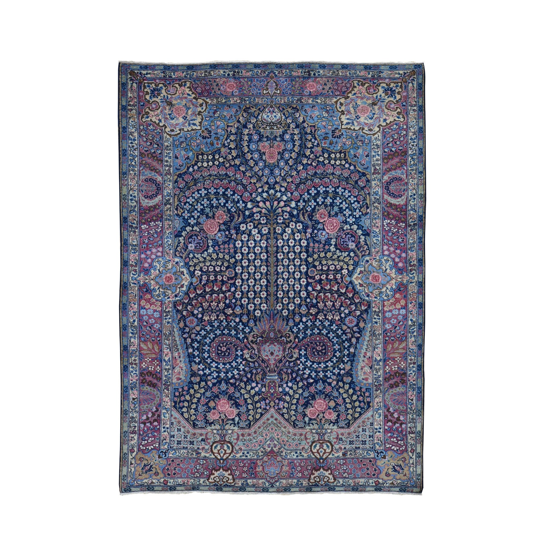 "4'7""x6'4"" Navy Blue Antique Persian Tabriz Full Pile Peacock & Flower Design Exc Condition Oriental Rug"