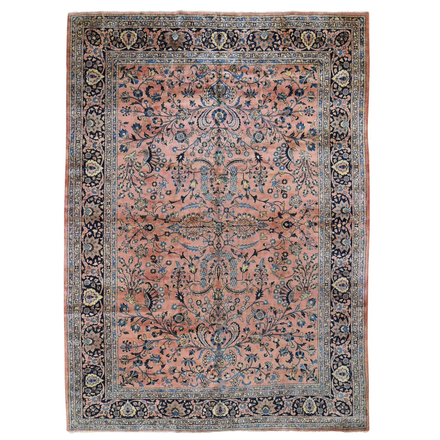"9'x12'3"" Coral Antique Persian Sarouk Mohojaren Soft And Full Pile Hand Woven Oriental Rug"