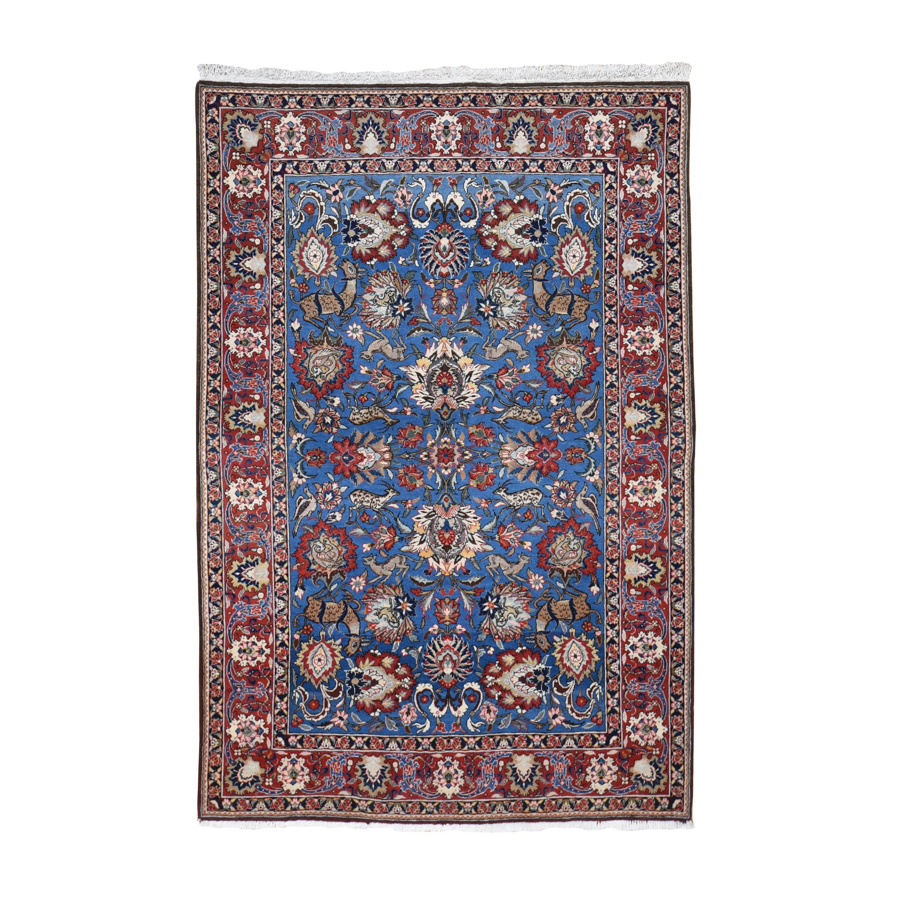 "4'8""x7' Blue Vintage Persian Qum Full Pile Exc Condition Hand Woven Oriental Rug"