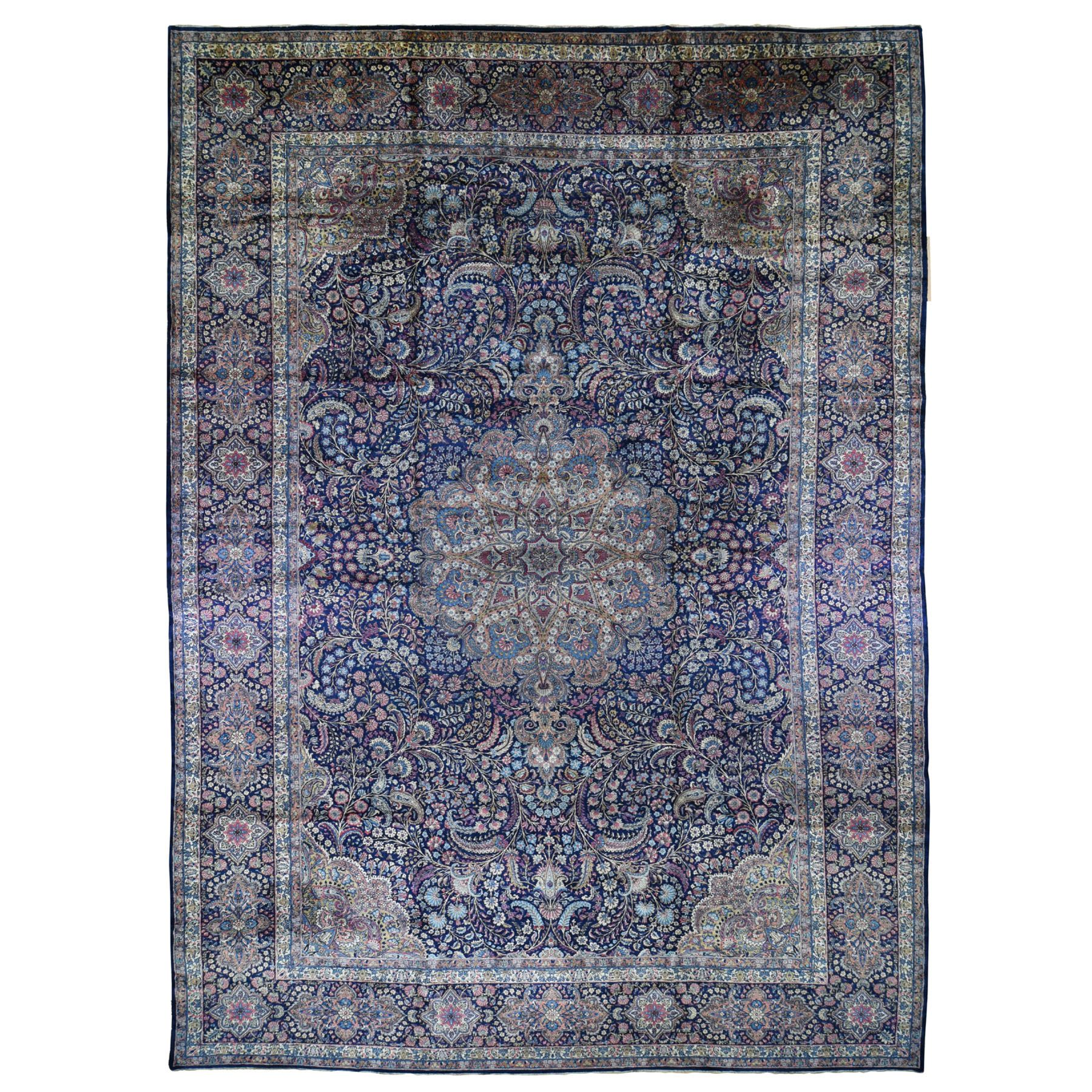 "13'4""x19'7"" Oversized Antique Persian Kerman Full Pile And Soft Hand Woven Oriental Rug"