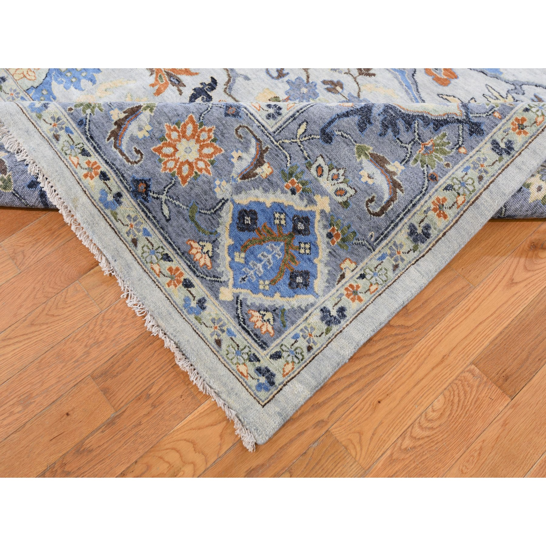 "8'10""x11'8"" Dense weave Oushak Gray With Pop Of Color Hand Woven Oriental Rug"