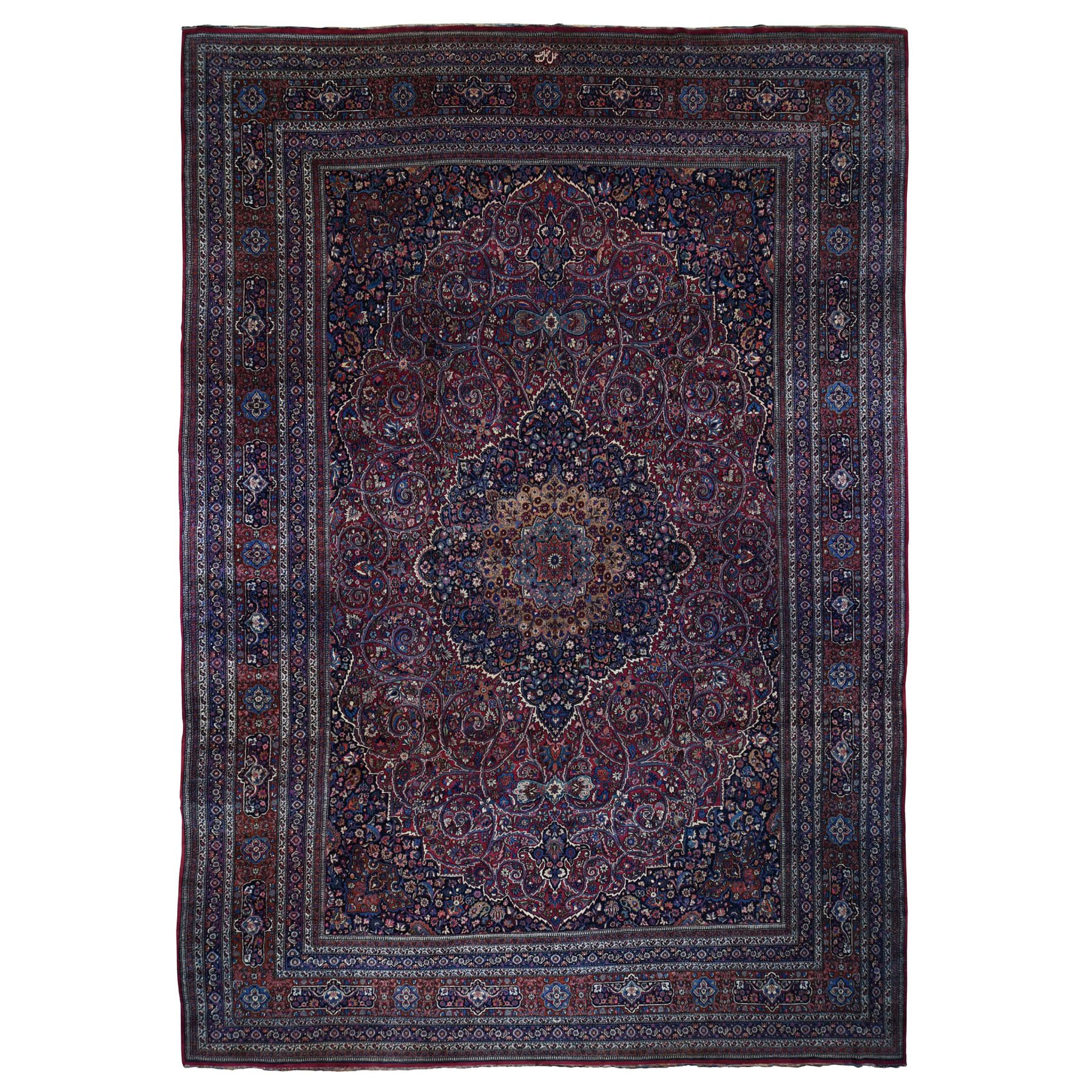 "13'x19'2"" Oversized Antique Persian Mashad Signed Full Pile And Soft Hand Woven Oriental Rug"