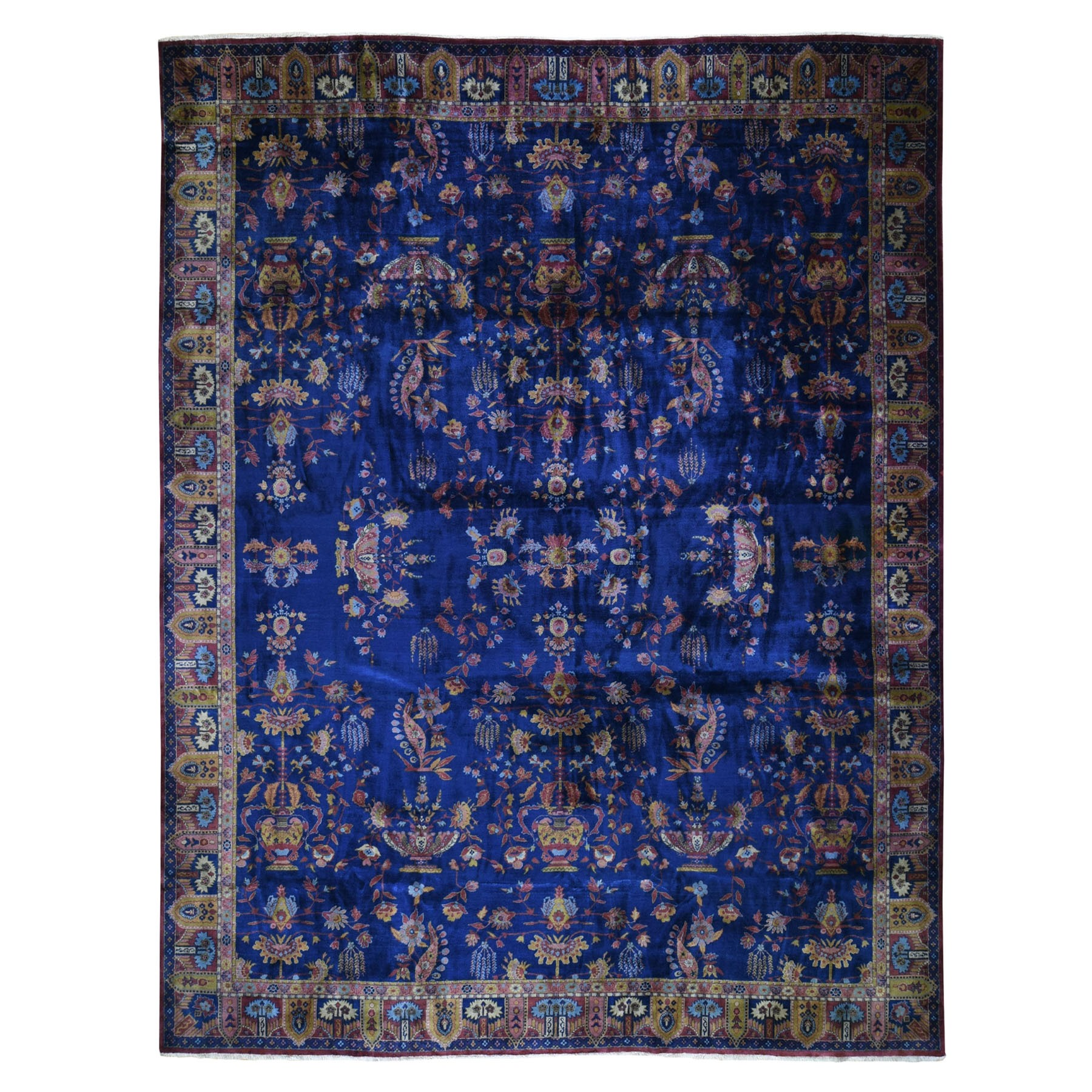 "12'x14'5"" Oversized Antique Indo Sarouk Dense Weave Full Pile And Soft Hand Woven Oriental Rug"