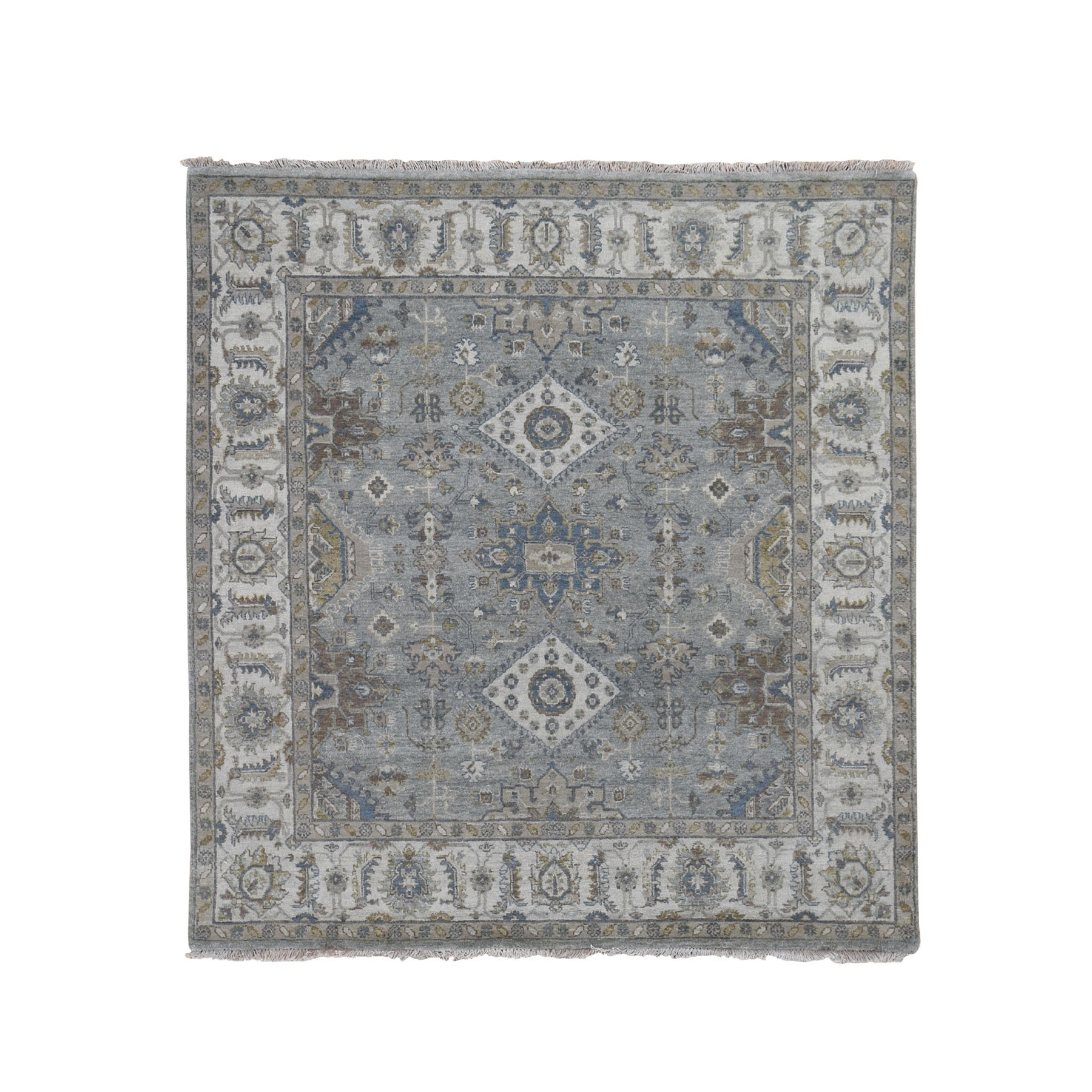 "6'2""x6'2"" Square Gray Karajeh Design Pure Wool Hand Woven Oriental Rug"