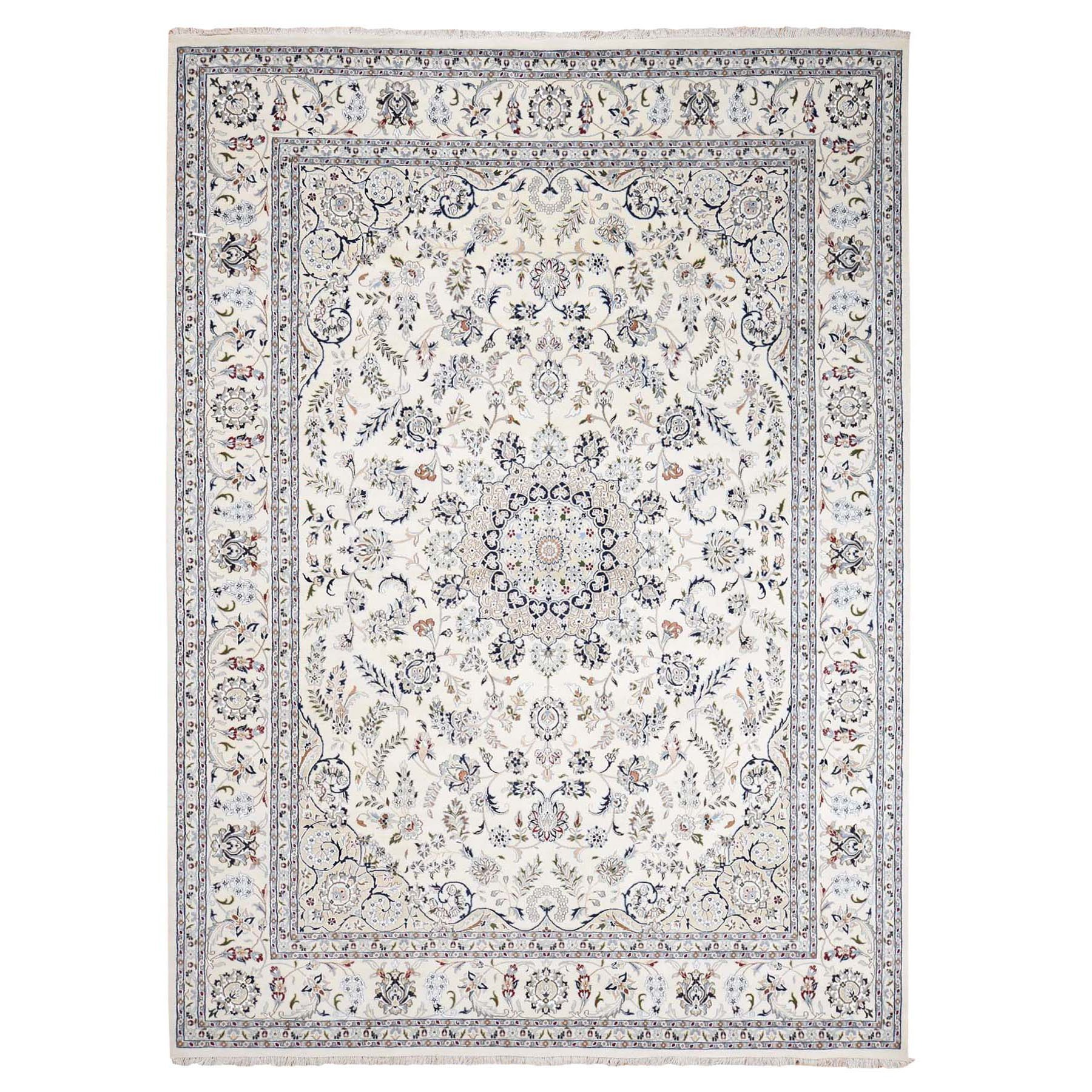 "9'1""x12'1"" Wool And Silk 250 KPSI Ivory Nain Hand Woven Oriental Rug"