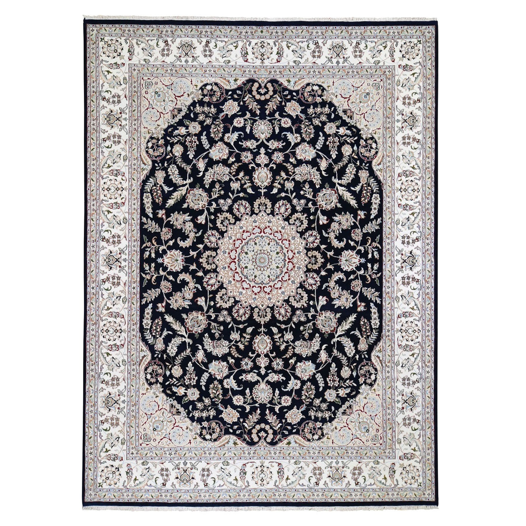 9'x12' Navy Blue Nain Wool and Silk 250 Kpsi Hand Woven Oriental Rug
