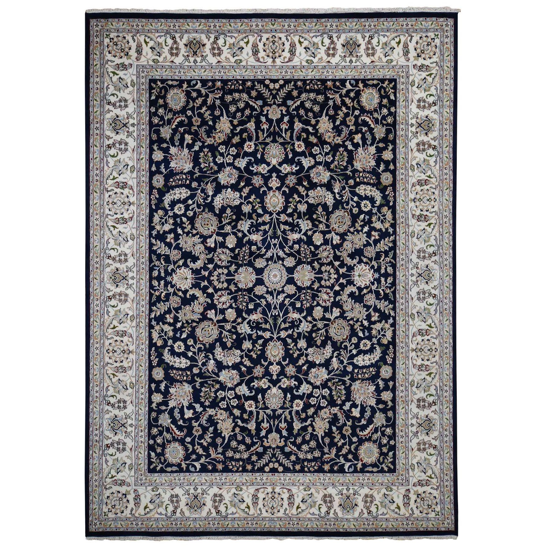 "9'9""x14' Navy Blue Wool And Silk 250 KPSI All Over Design Nain Hand Woven Oriental Rug"