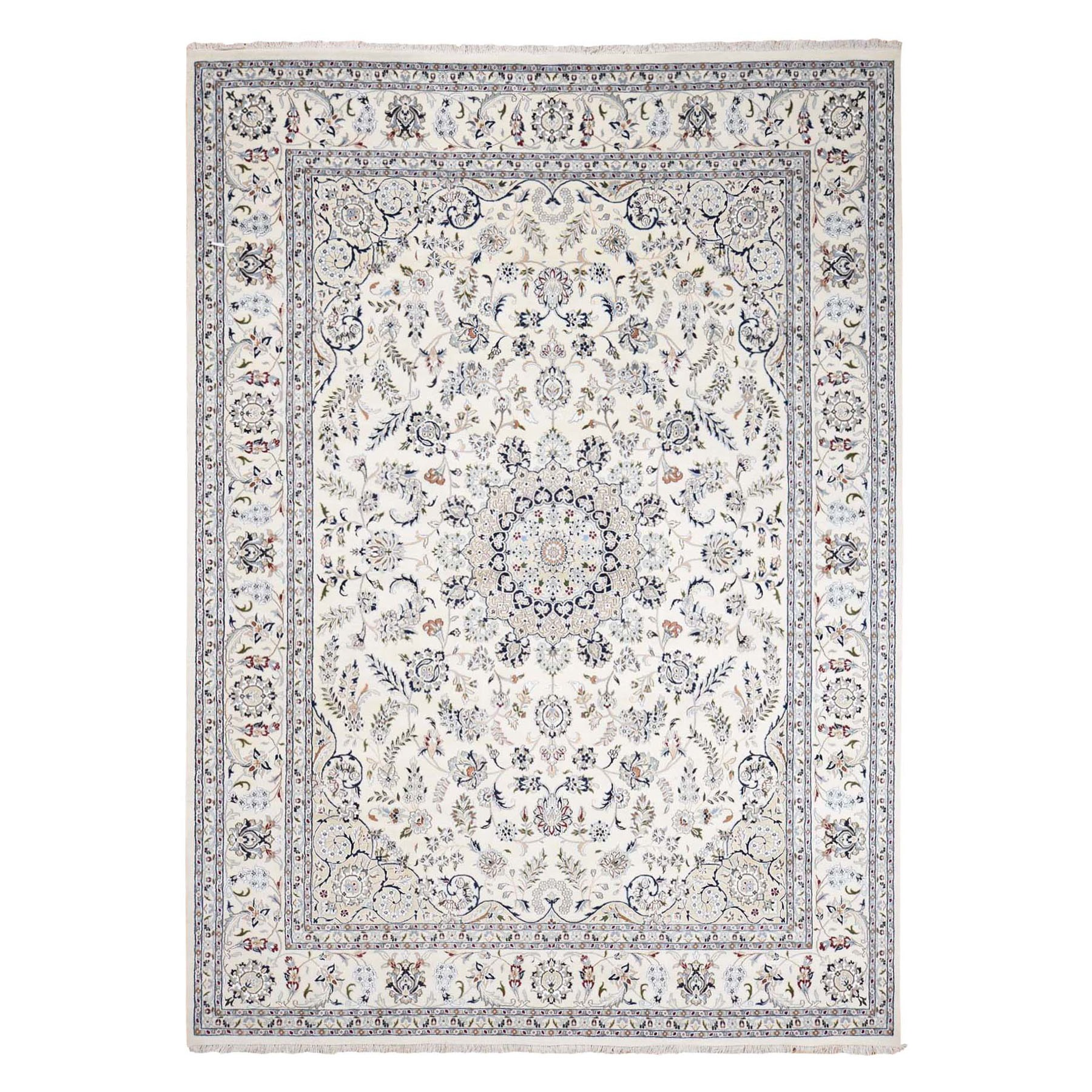 "8'10""x12'1"" Ivory Wool and Silk 250 KPSI Nain Hand Woven Oriental Rug"