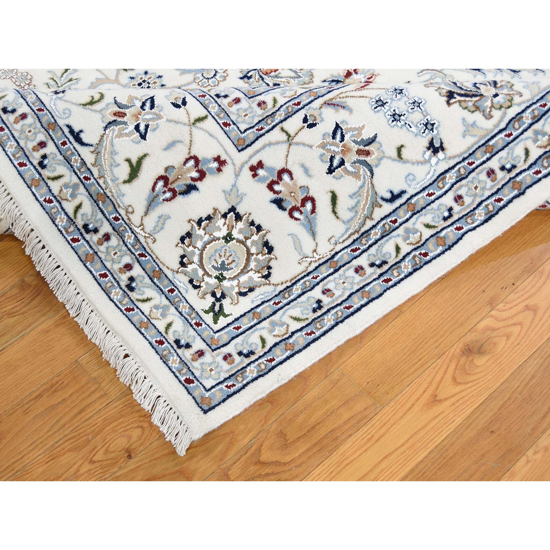 8'x10' Ivory Nain Wool And Silk 250 KPSI Hand Woven Oriental Rug