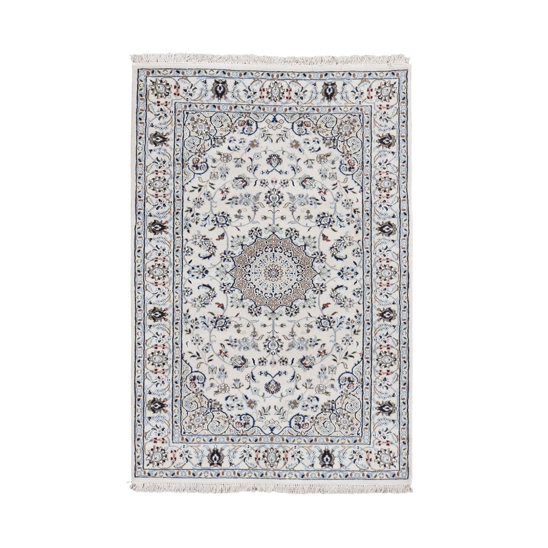 "3'1""x5'1"" Ivory Nain Wool And Silk 250 KPSI Hand Woven Oriental Rug"