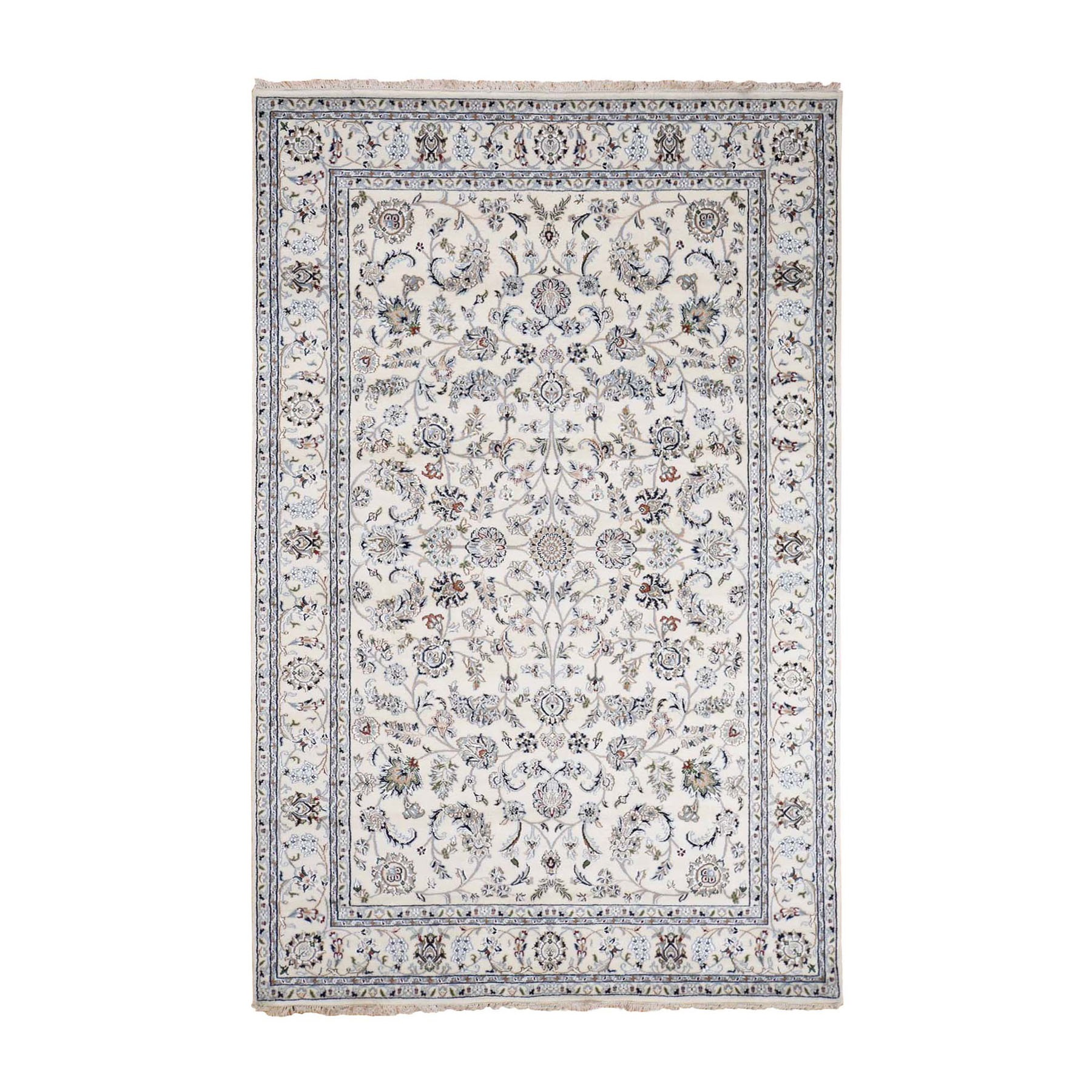 "4'10""x7' Ivory Nain All Over Design Wool And Silk 250 KPSI Hand Woven Oriental Rug"