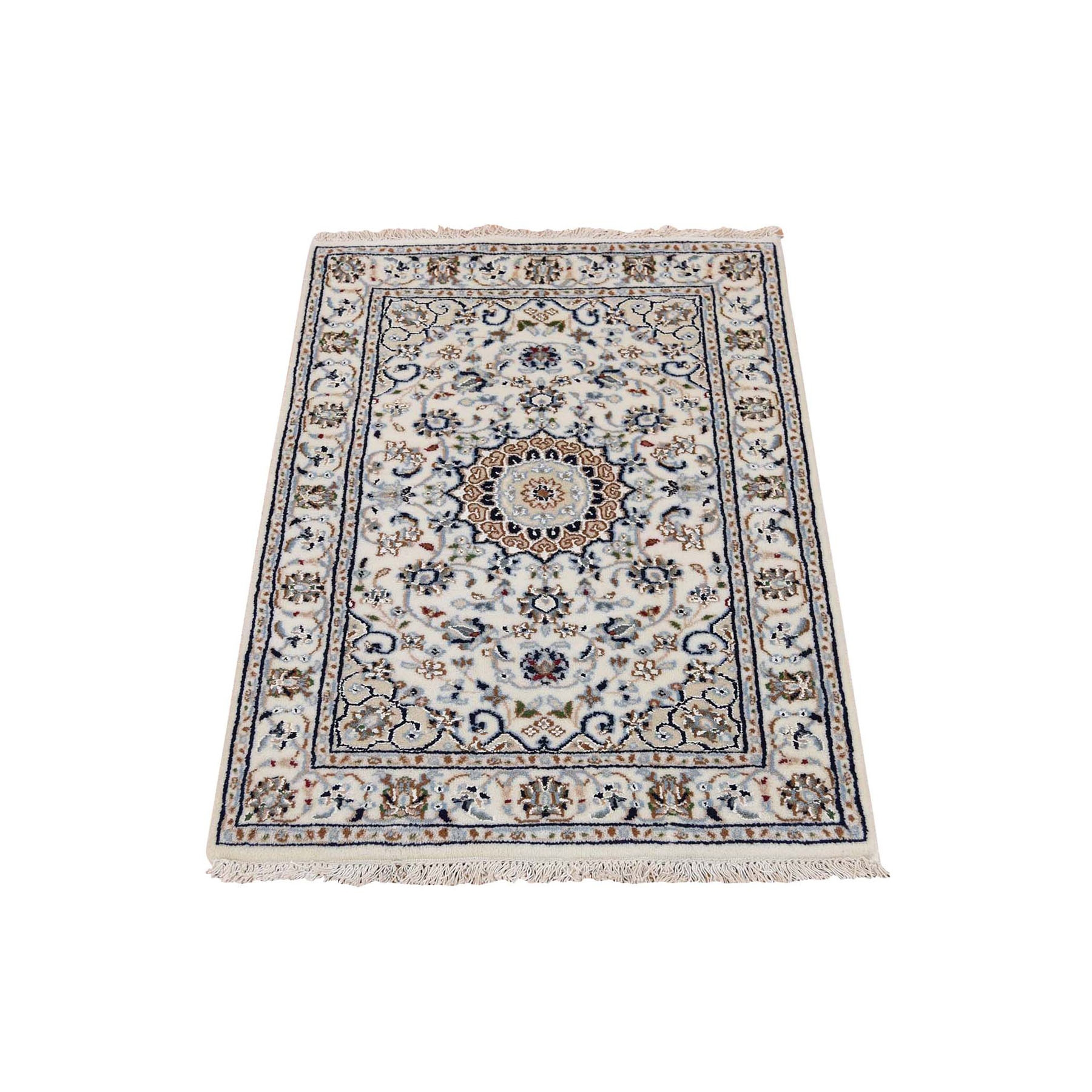 "2'x3'1"" Ivory Nain Wool And Silk 250 KPSI Hand Woven Oriental Rug"