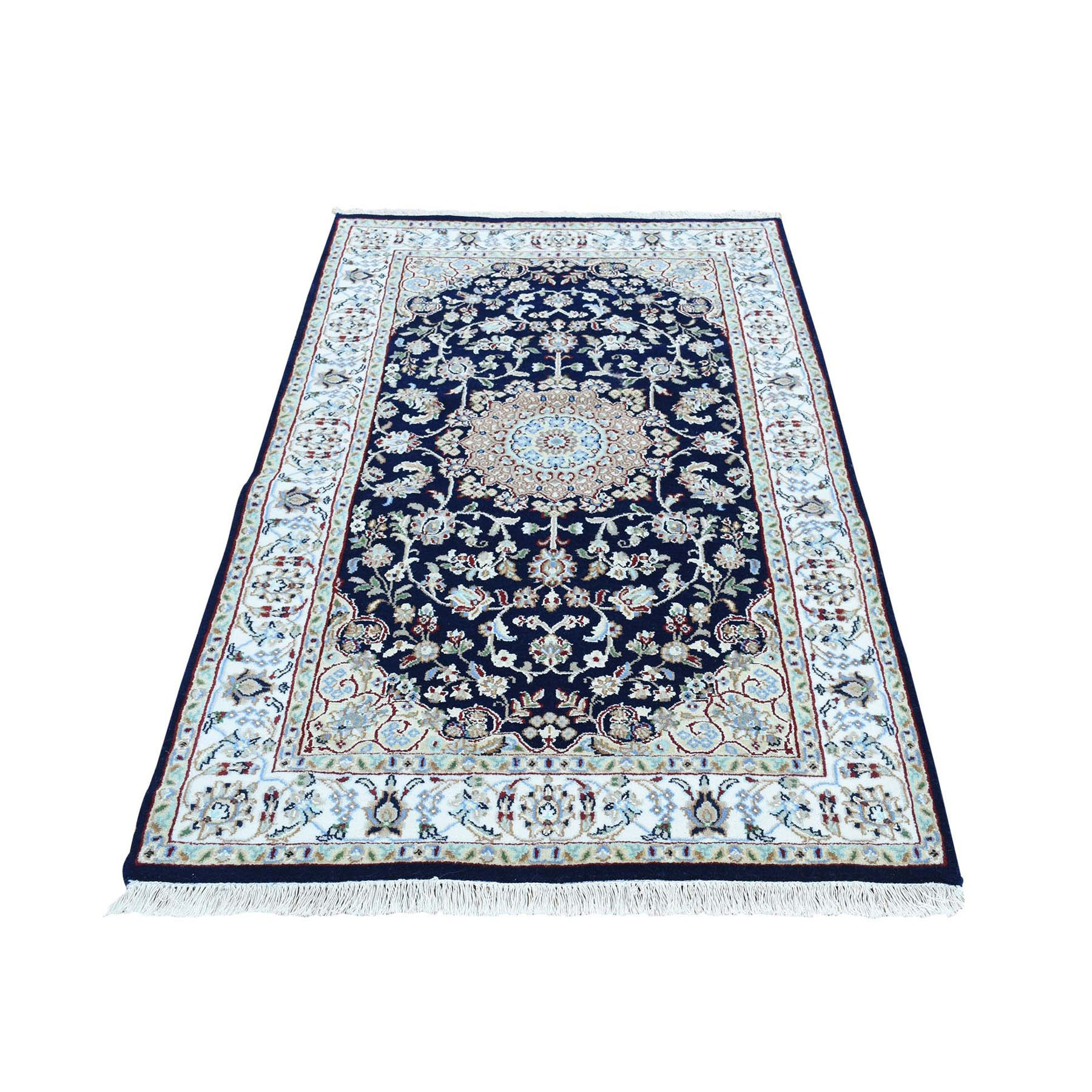 "3'x5'4"" Navy Blue Nain Wool And Silk 250 KPSI Hand Woven Oriental Rug"