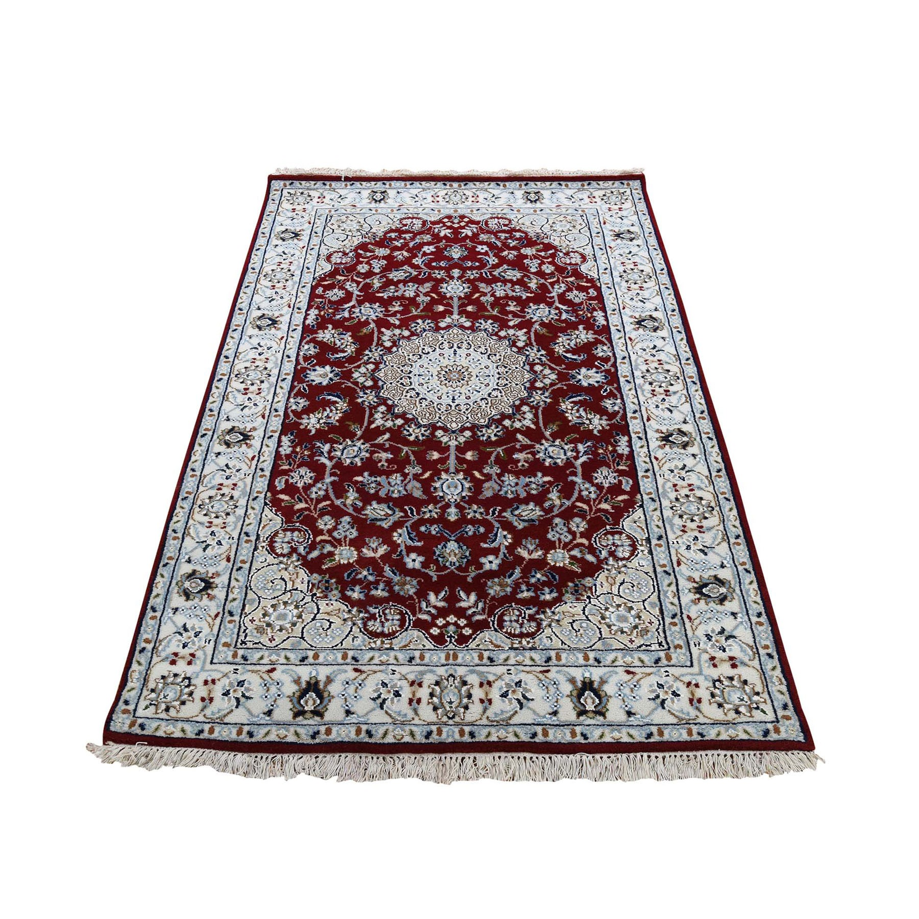 "3'x5'4"" Red Nain Wool And Silk 250 Kpsi Hand Woven Oriental Rug"