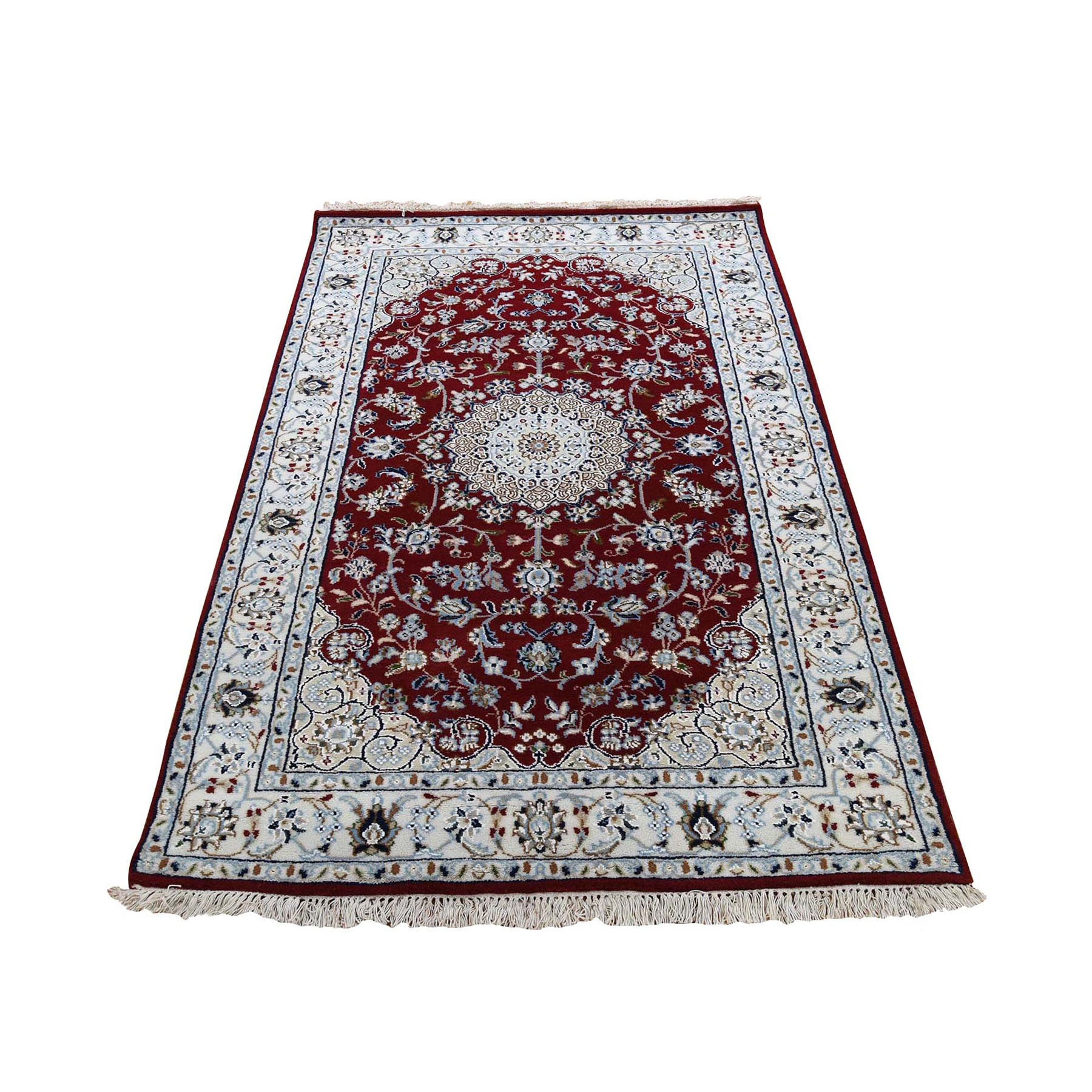 "3'2""x5'4"" Red Nain Wool And Silk 250 KPSI Hand Woven Oriental Rug"