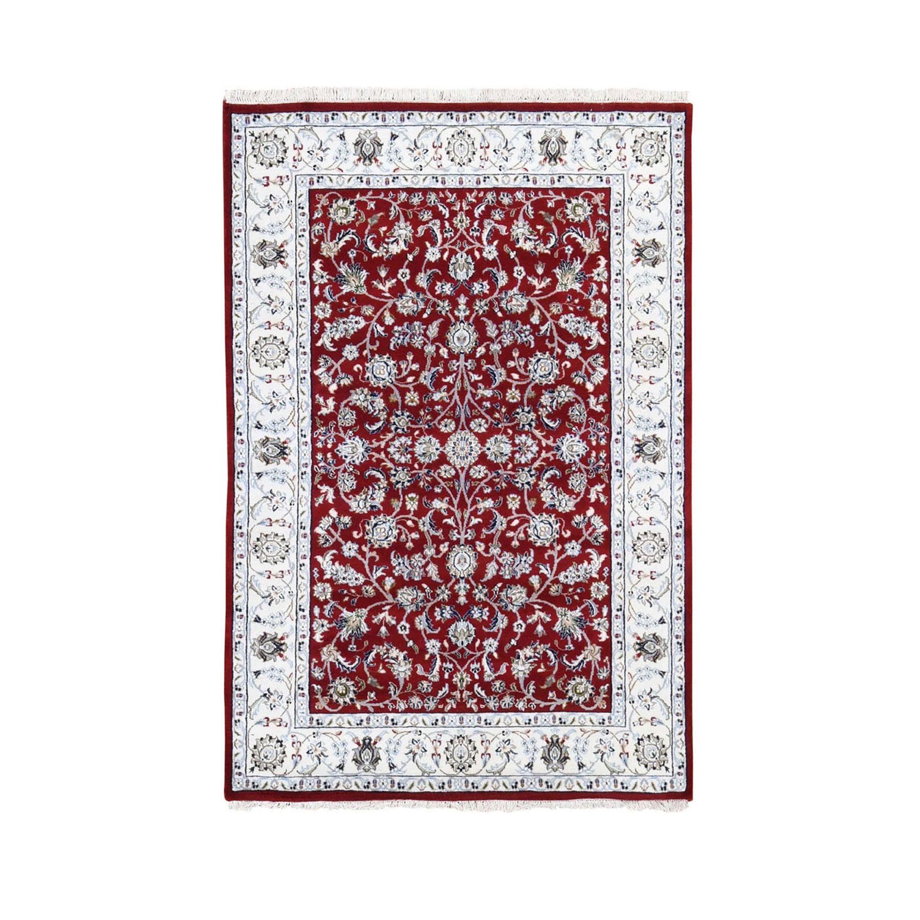 "4'x6'2"" Red Nain Wool And Silk All Over Design 250 KPSI Hand Woven Oriental Rug"