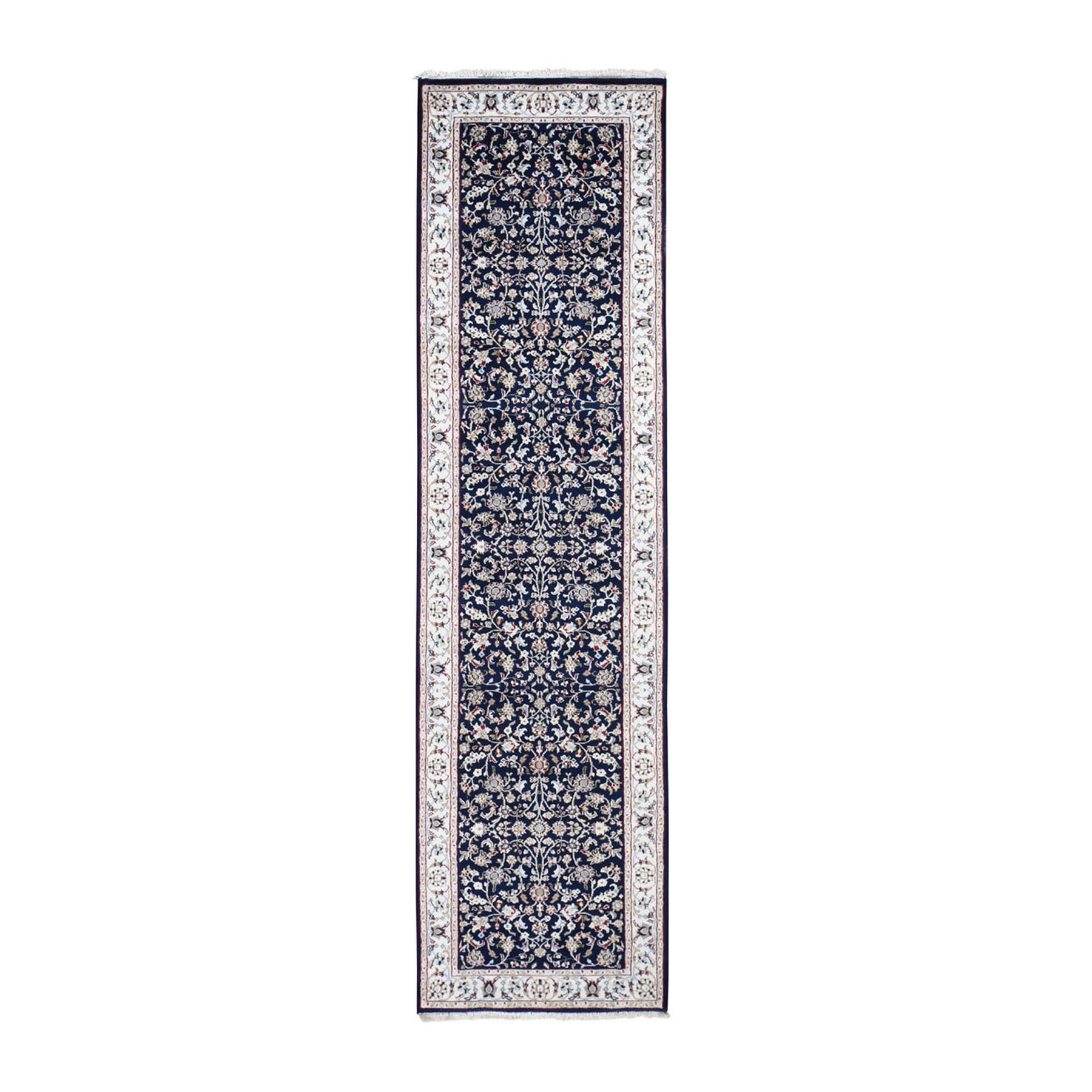 "2'8""x10' Navy Blue Runner Nain Wool And Silk All Over Design 250 KPSI Hand Woven Oriental Rug"