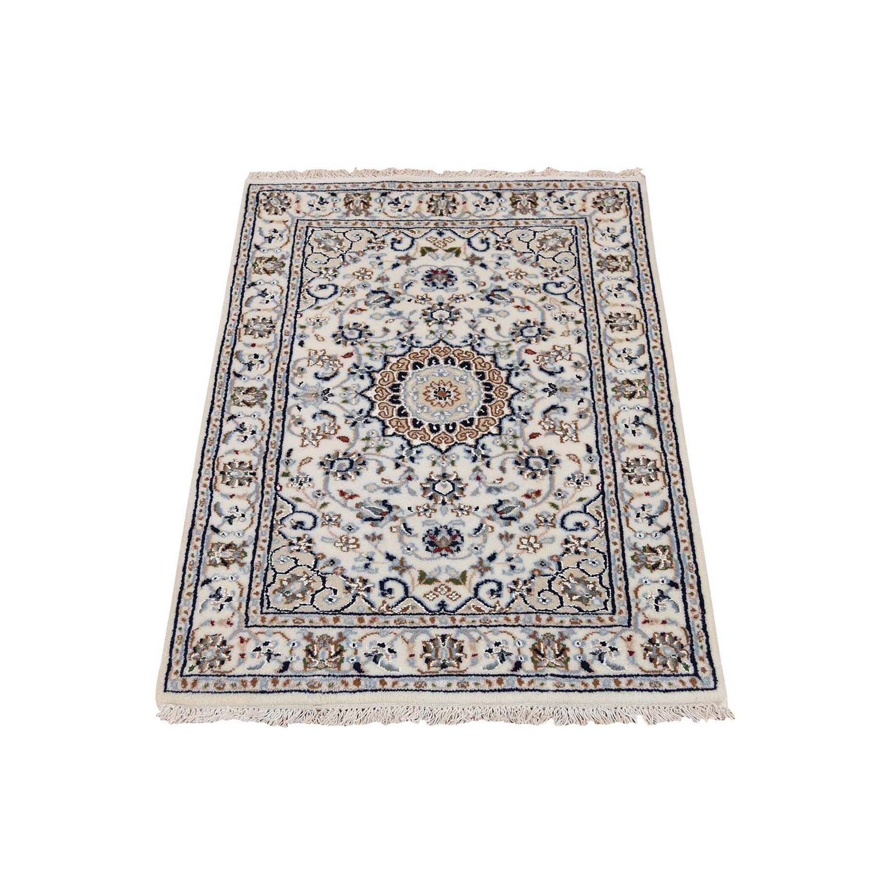 "2'2""x3'2"" Wool And Silk 250 KPSI Ivory Nain Hand Woven Oriental Rug"
