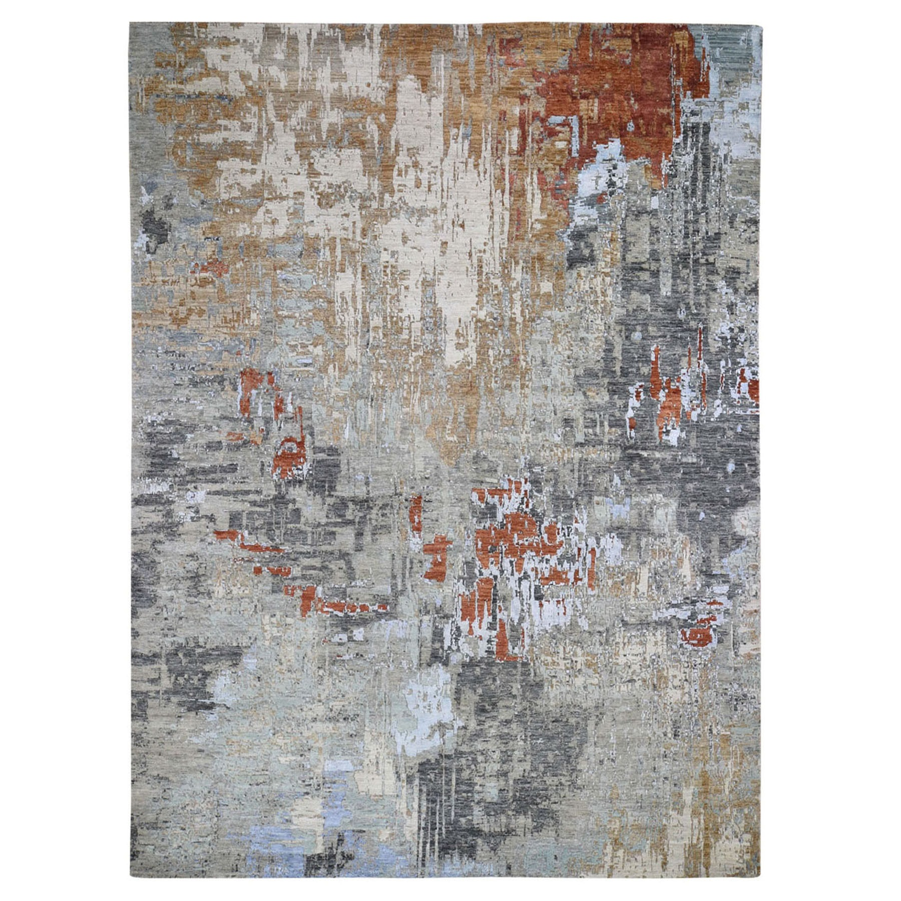 9'x12' Red Abstract Design Wool and Silk Hi-Lo Pile Denser Weave Hand Woven Oriental Rug